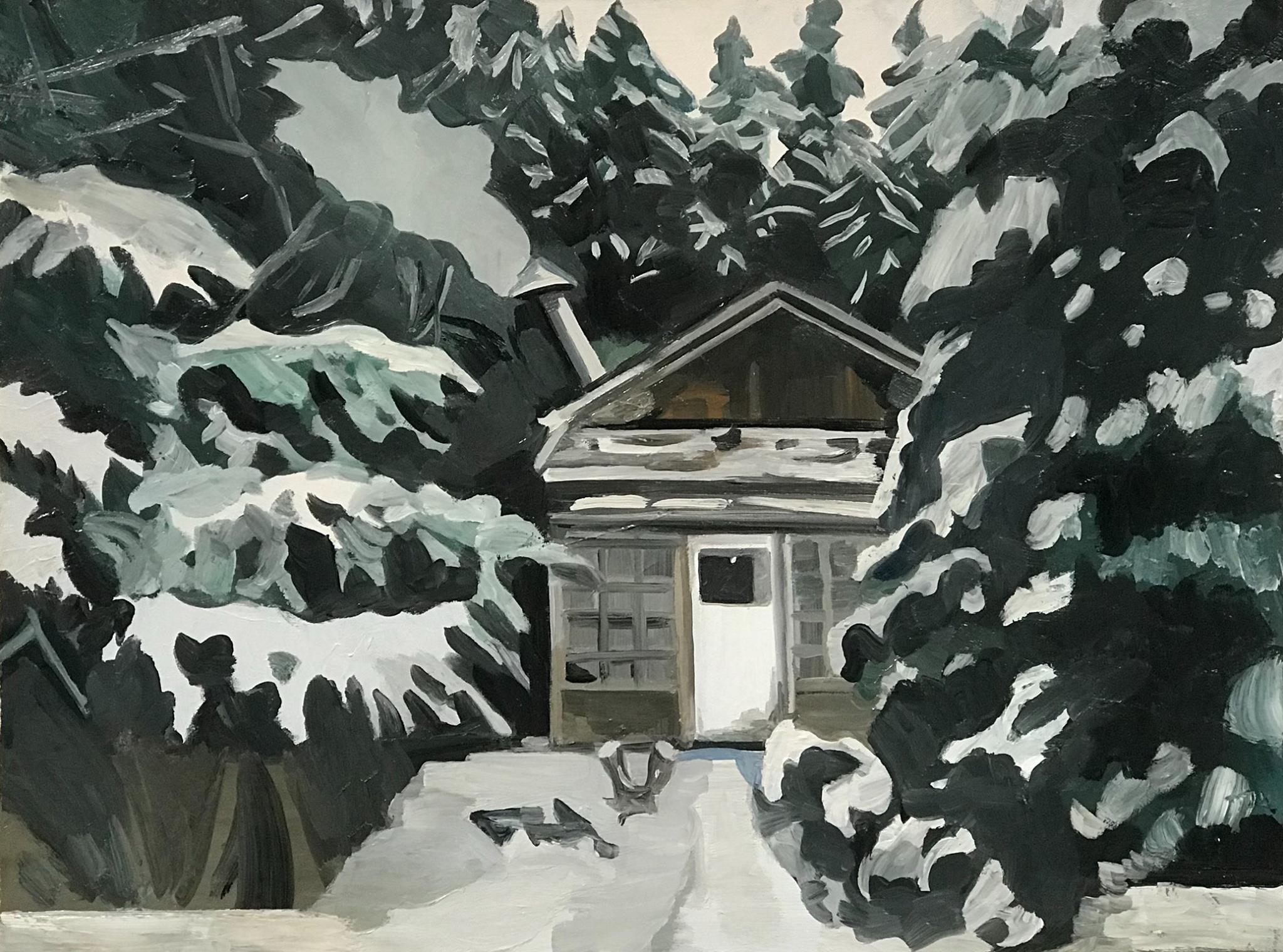 "Snowed In, oil on cradled board, 18"" x 24"""