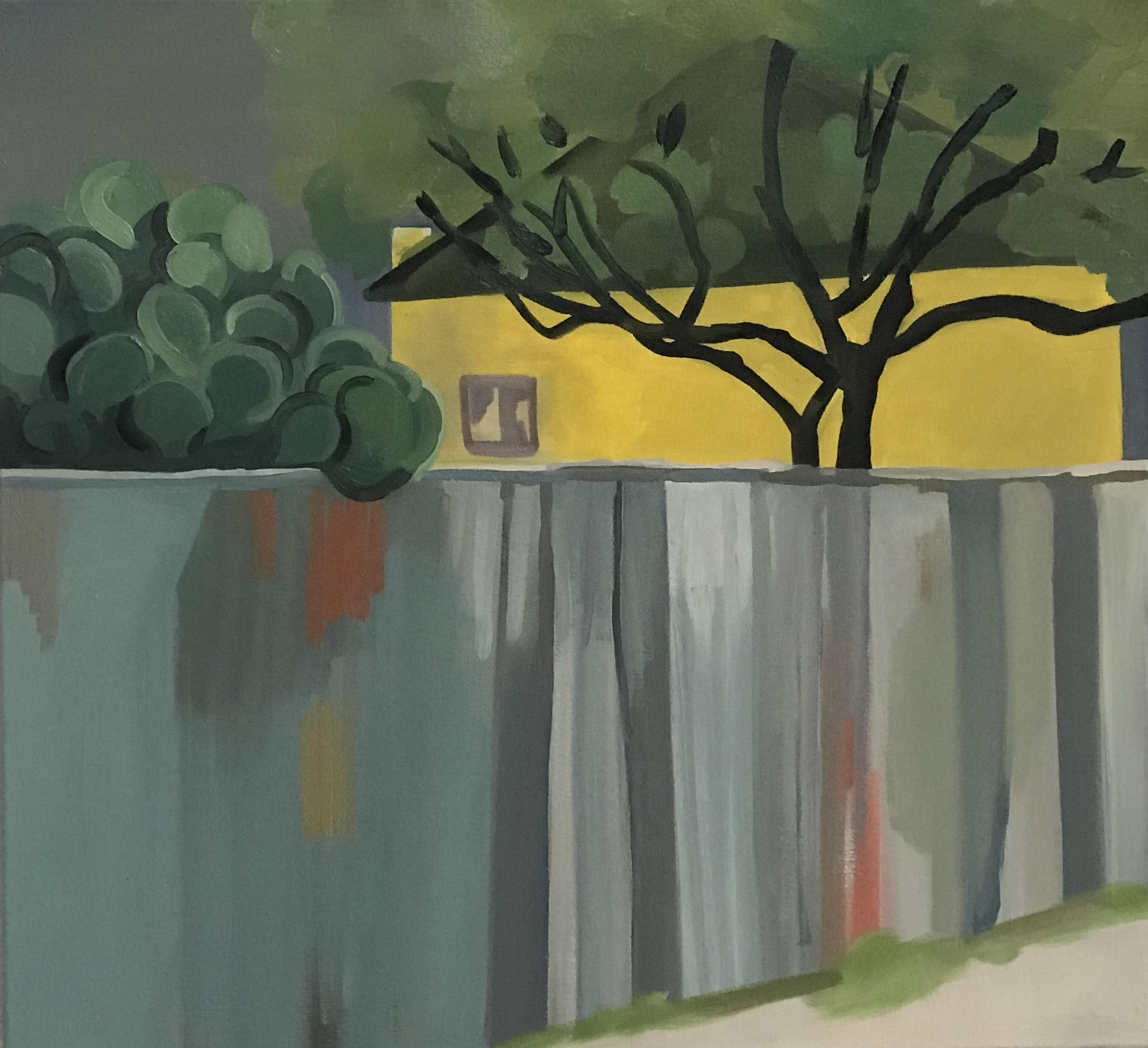 """Rainy Tucson, oil and wax on canvas, 24"""" x 26"""""""