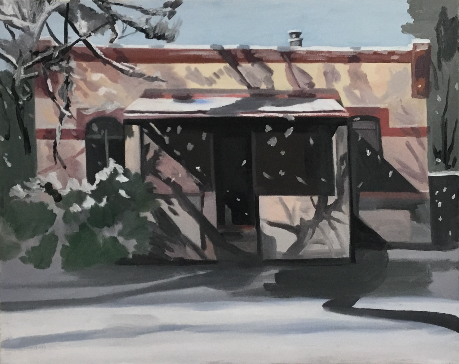 "Shadows and Snow, oil and wax on canvas, 23"" x 30"""