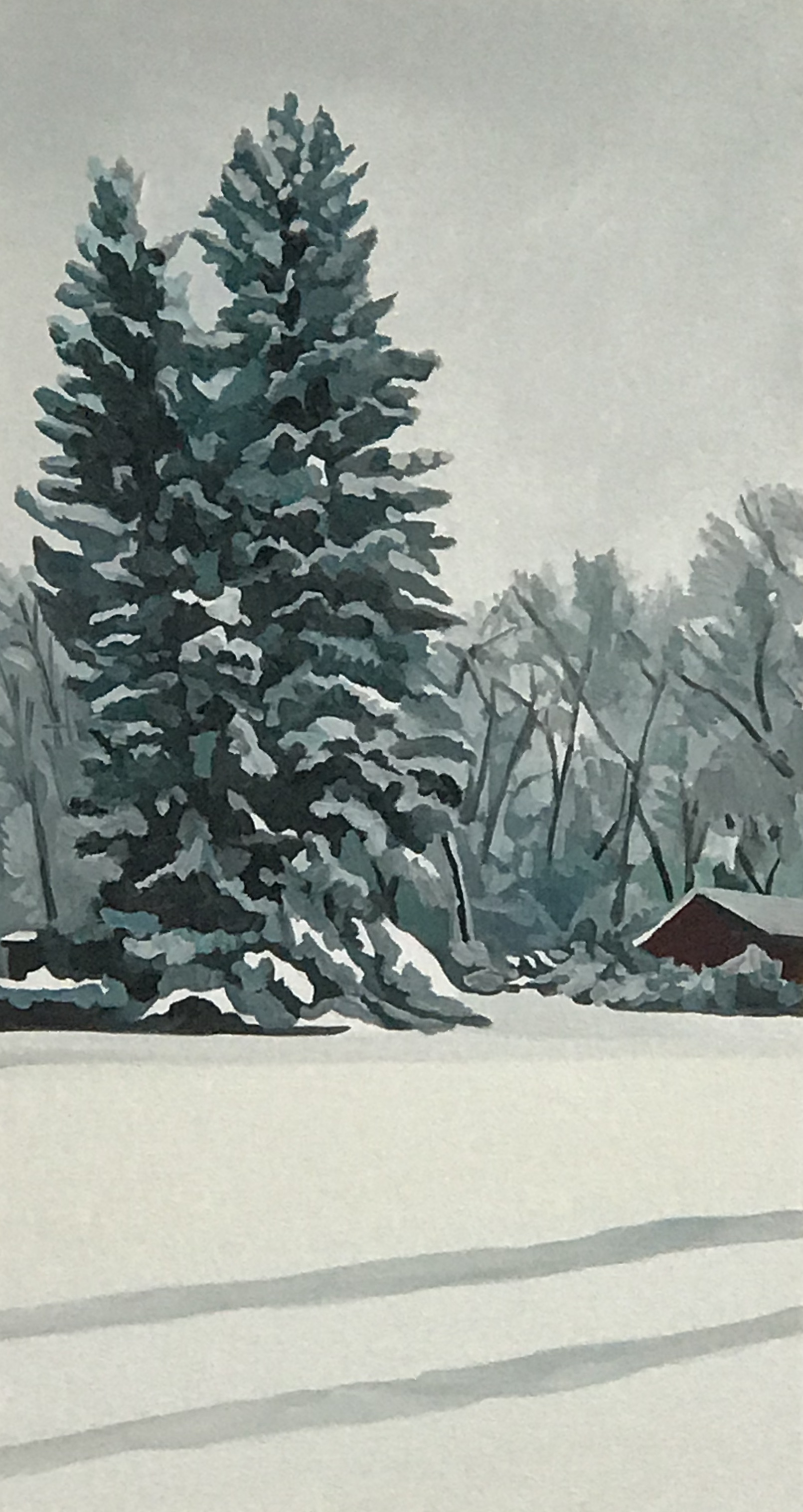 "Deep Snow, oil and wax on canvas, 24"" x 16""; sold"