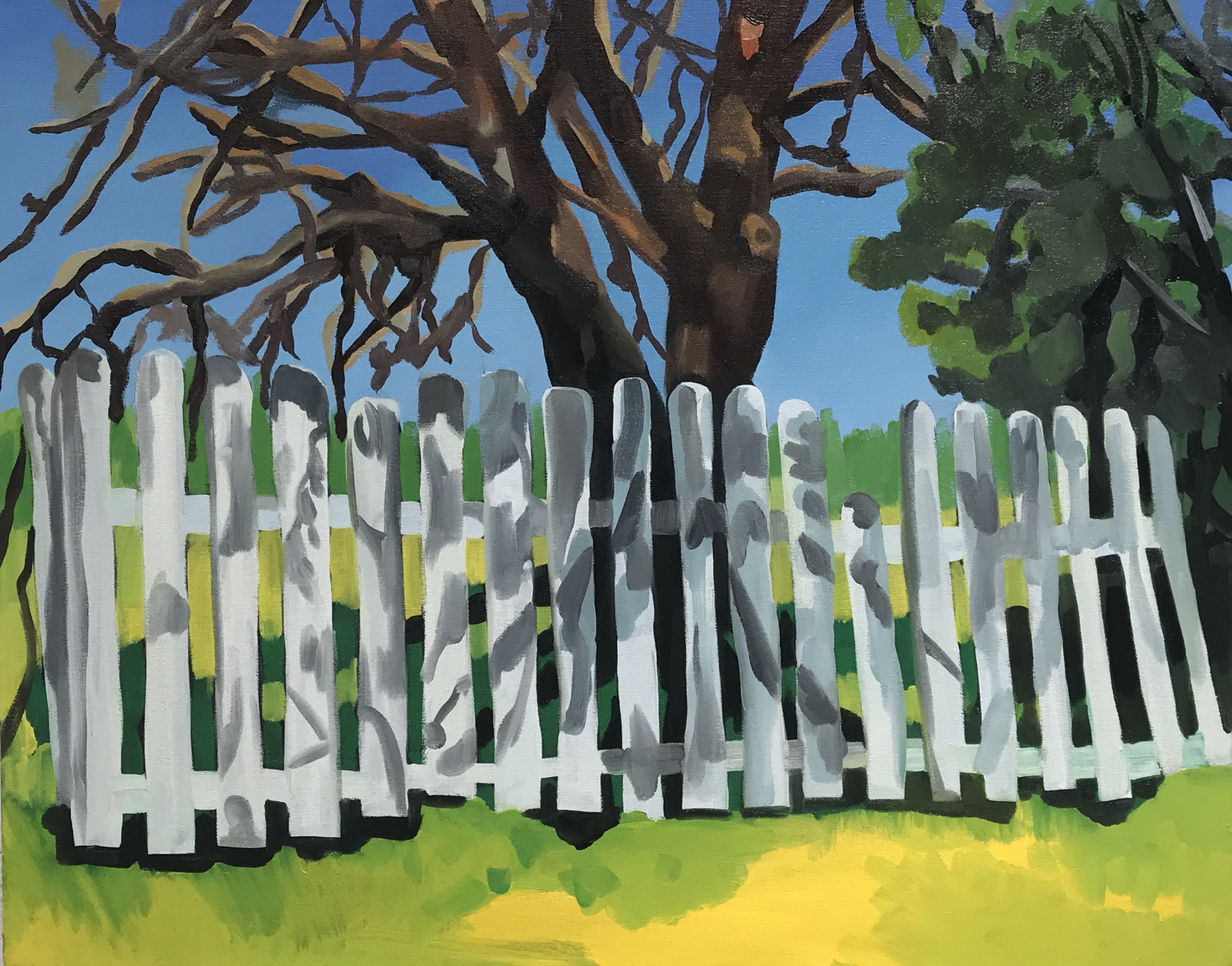 "Tree and a Camouflage Fence, oil on canvas, 24"" x 30"""