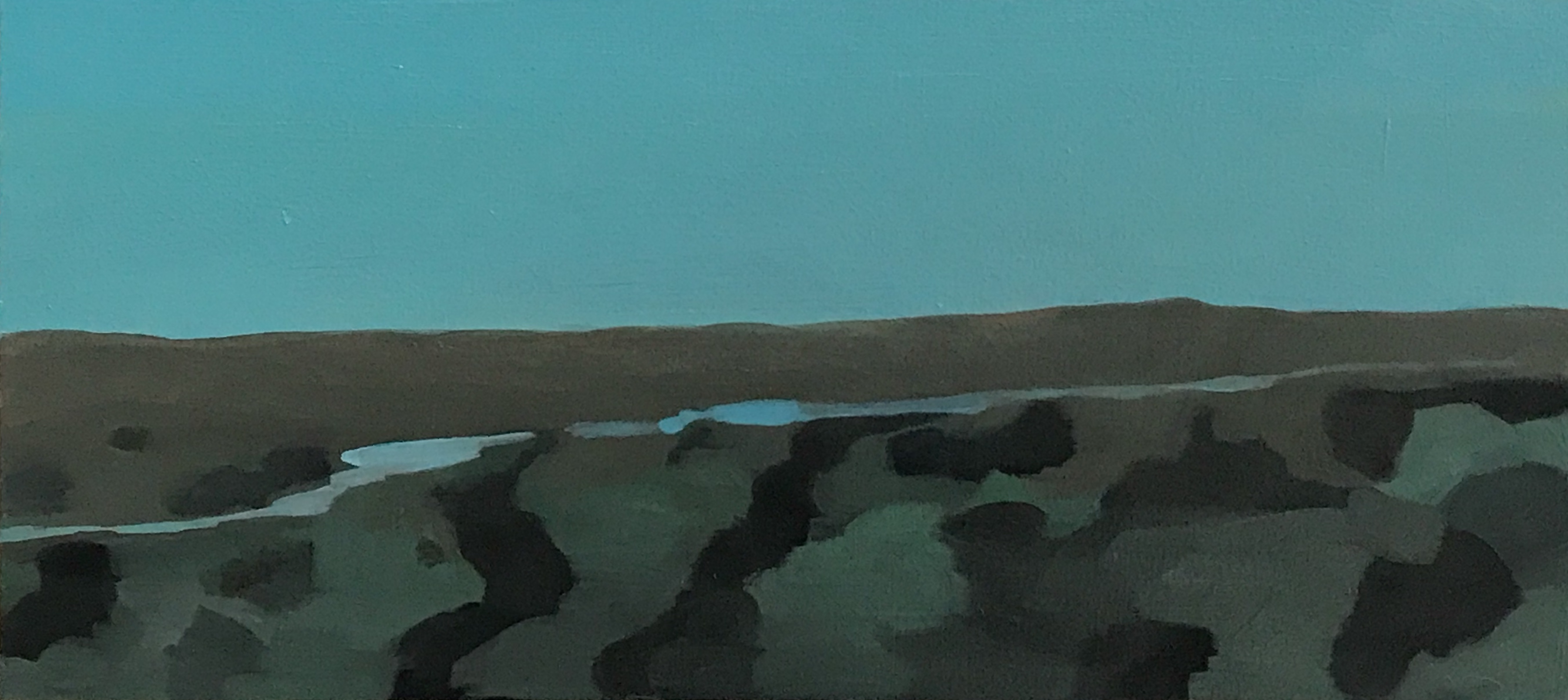 """High plains river, oil and wax on canvas, 10"""" x 22"""""""