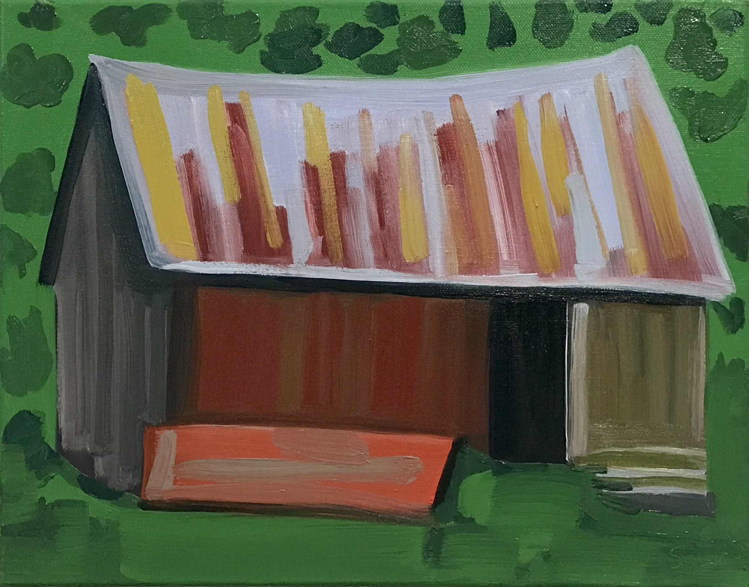 "Country Place (Up Against the Hill), oil on canvas, 11"" x 14"""