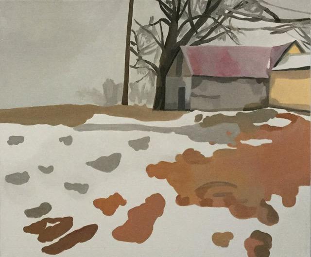 """Snowmelt on Leaves, oil, 30"""" x 36"""""""