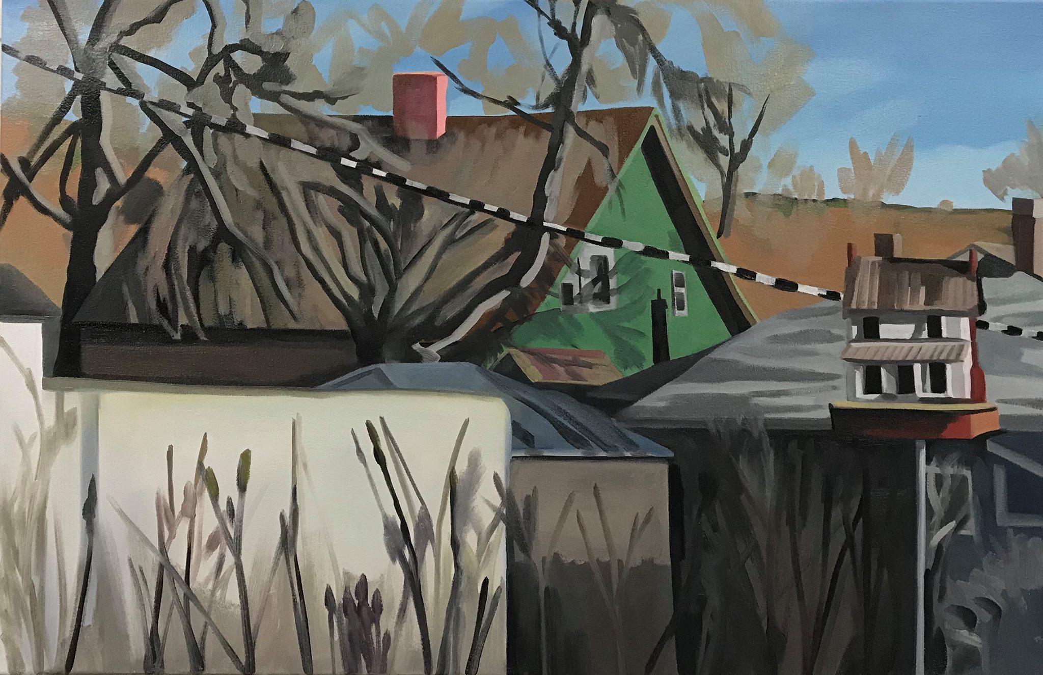 "Neighborhood, oil and cold wax on canvas, 26"" x 40"""