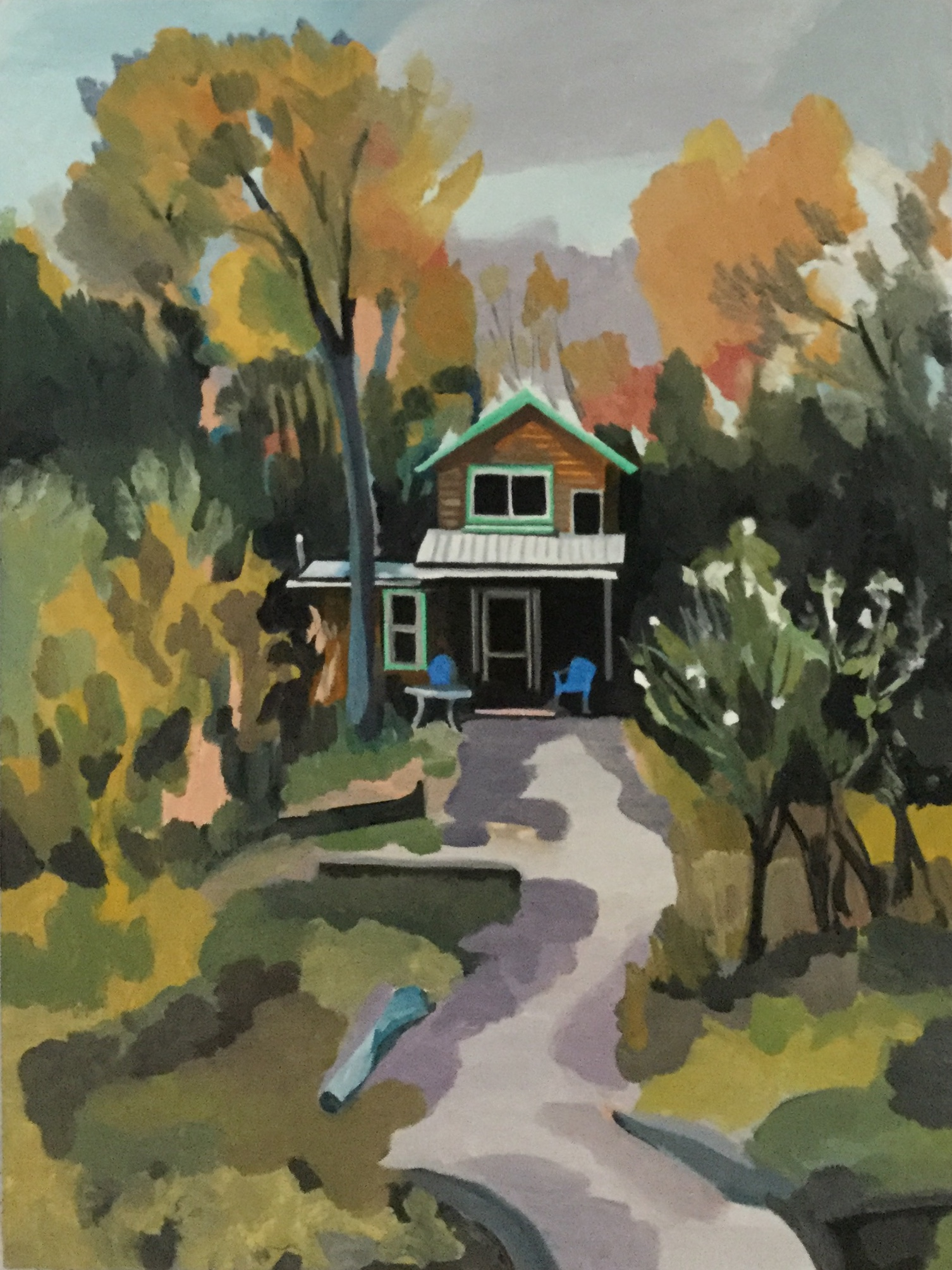 "Fall Colors (Hideaway), oil on cradled board, 24"" x 18"""