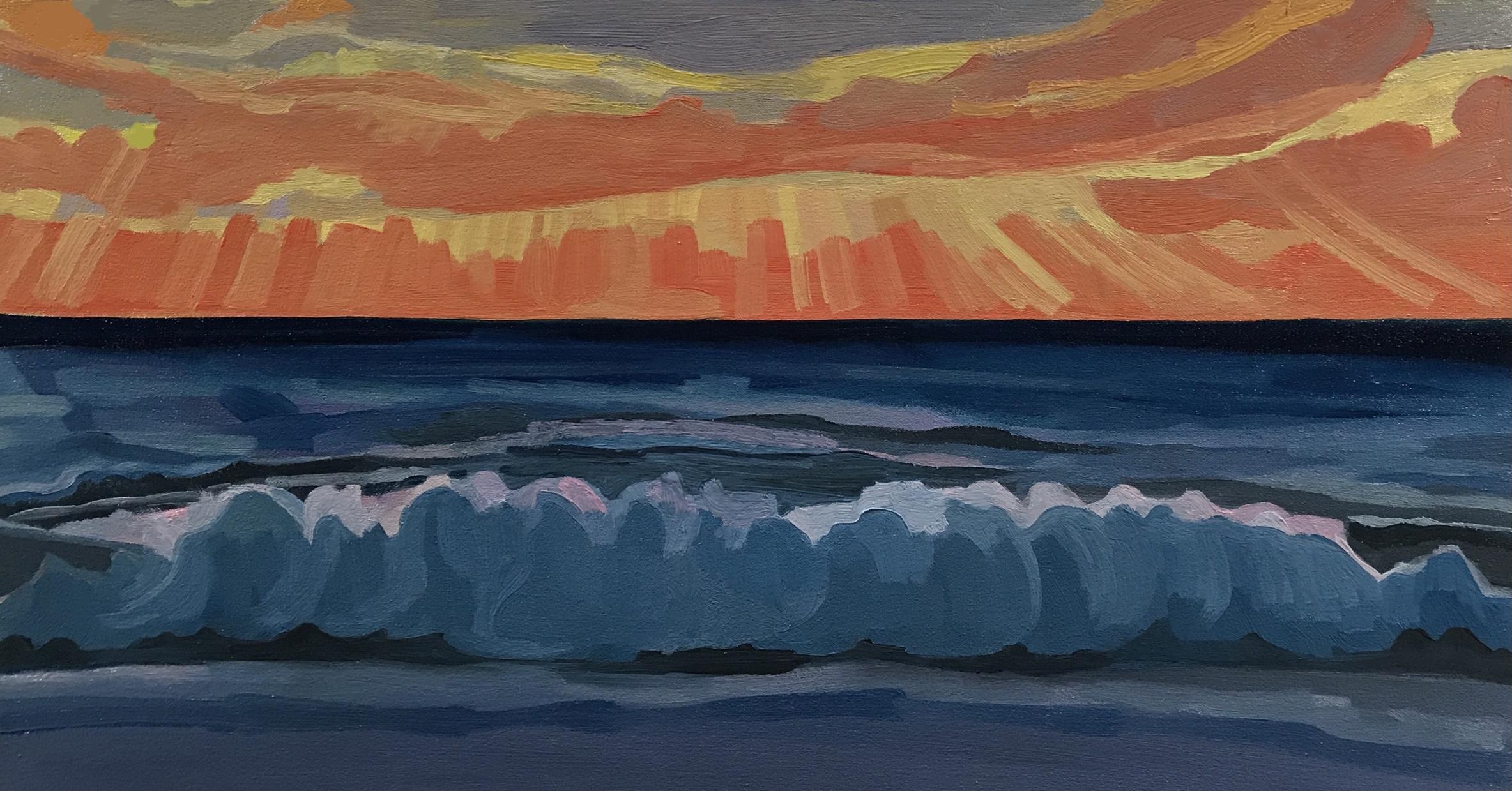 Sun rays, big wave