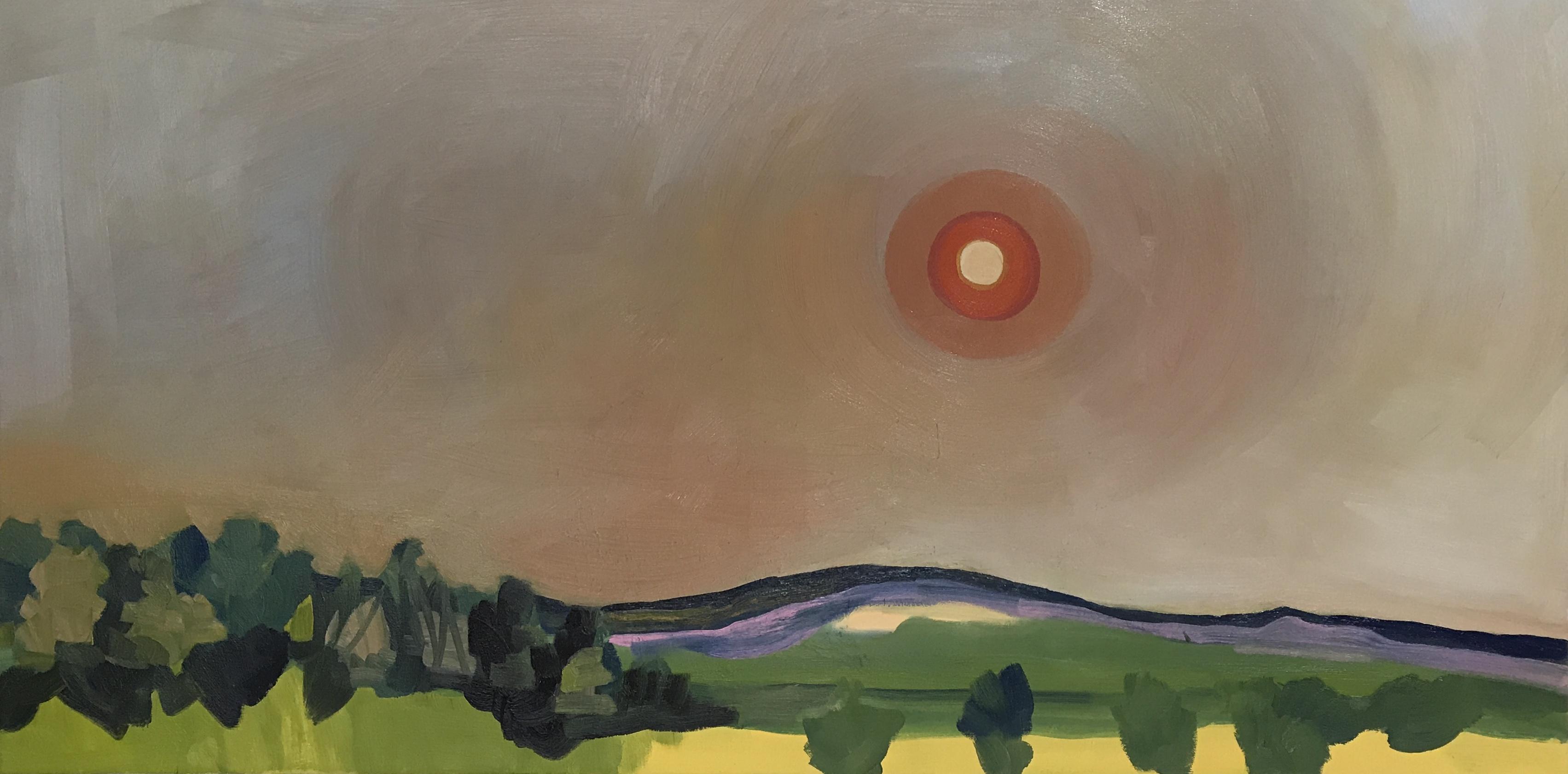"""Fire sun"""", oil on canvas, 24"""" x 48"""""""