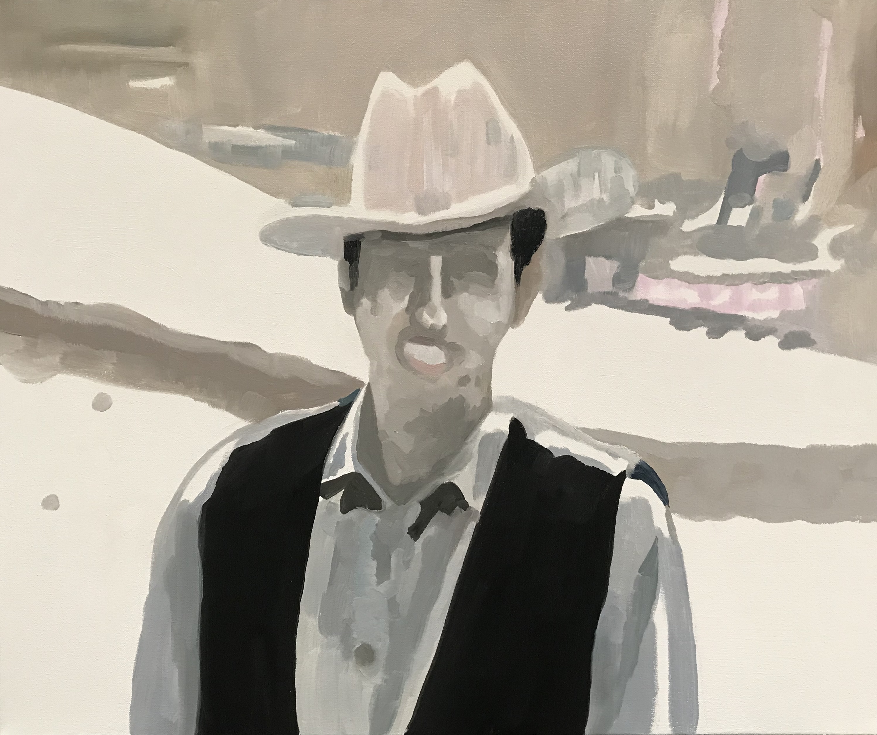 "Cowboy in the Light, oil and cold wax on canvas, 22"" x 24"""
