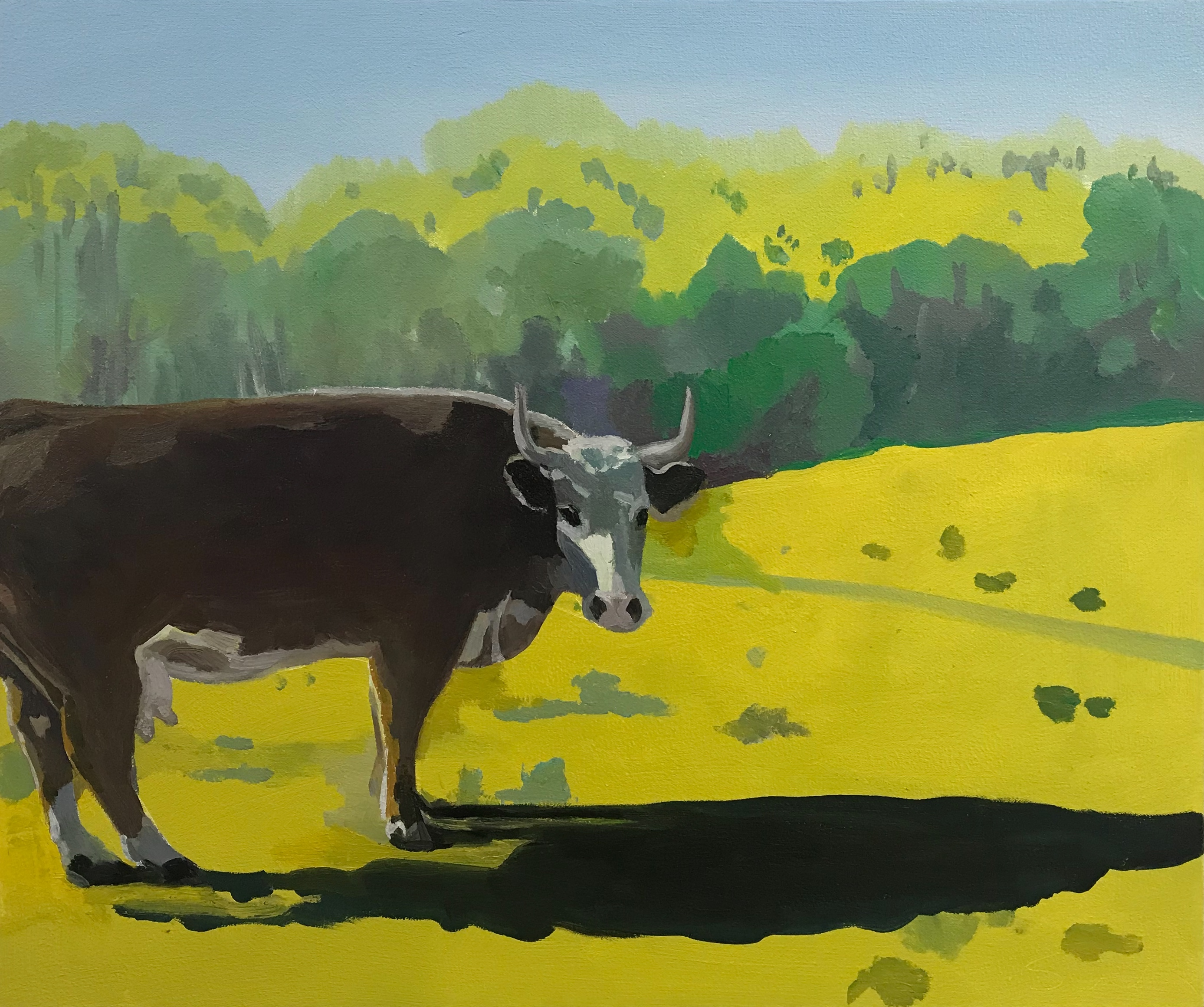 "Don and Rosie's Cow, oil and wax on canvas, 20"" x 24"""