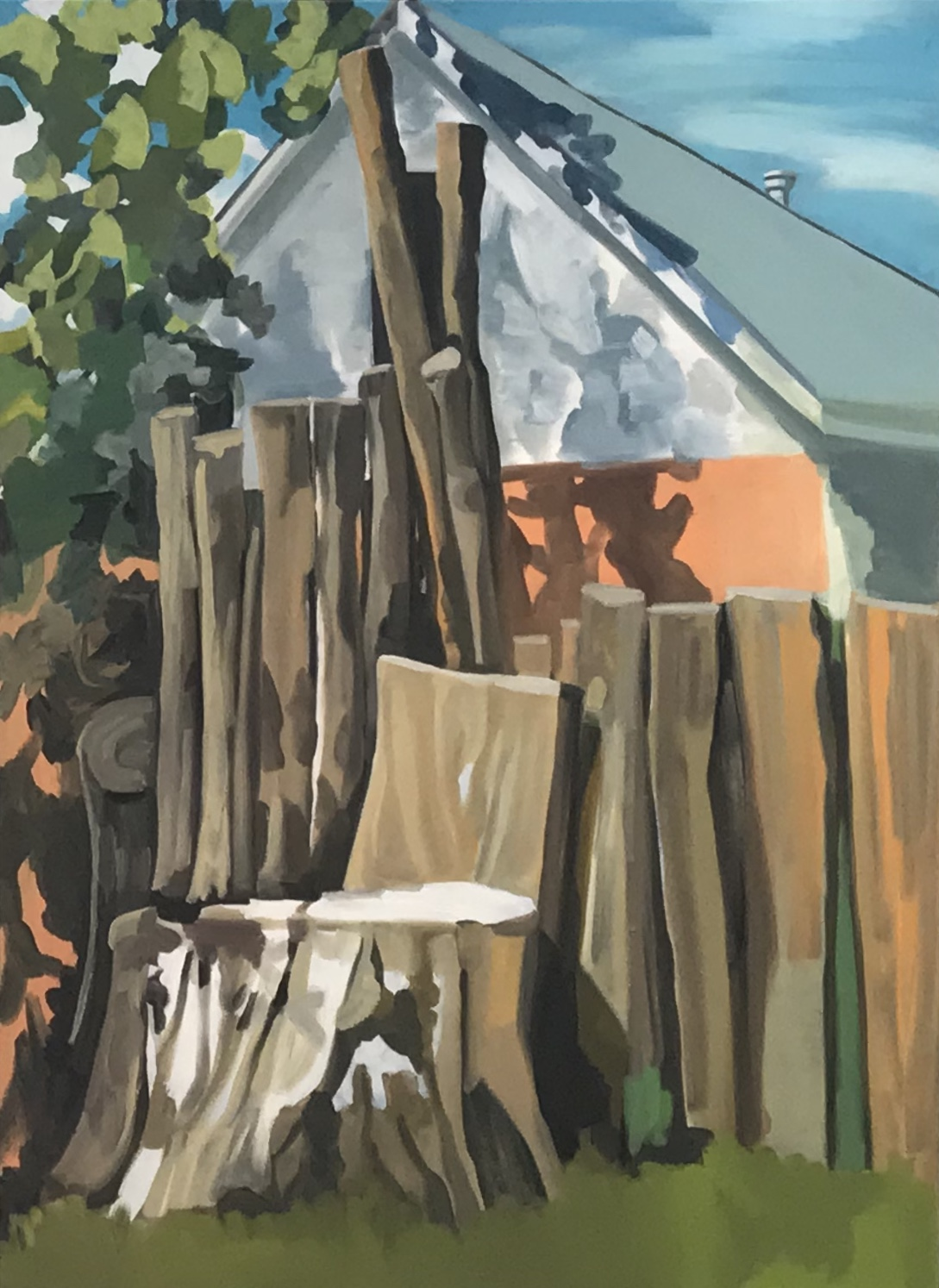 "Back alley shadows, oil, 50"" x 36"""