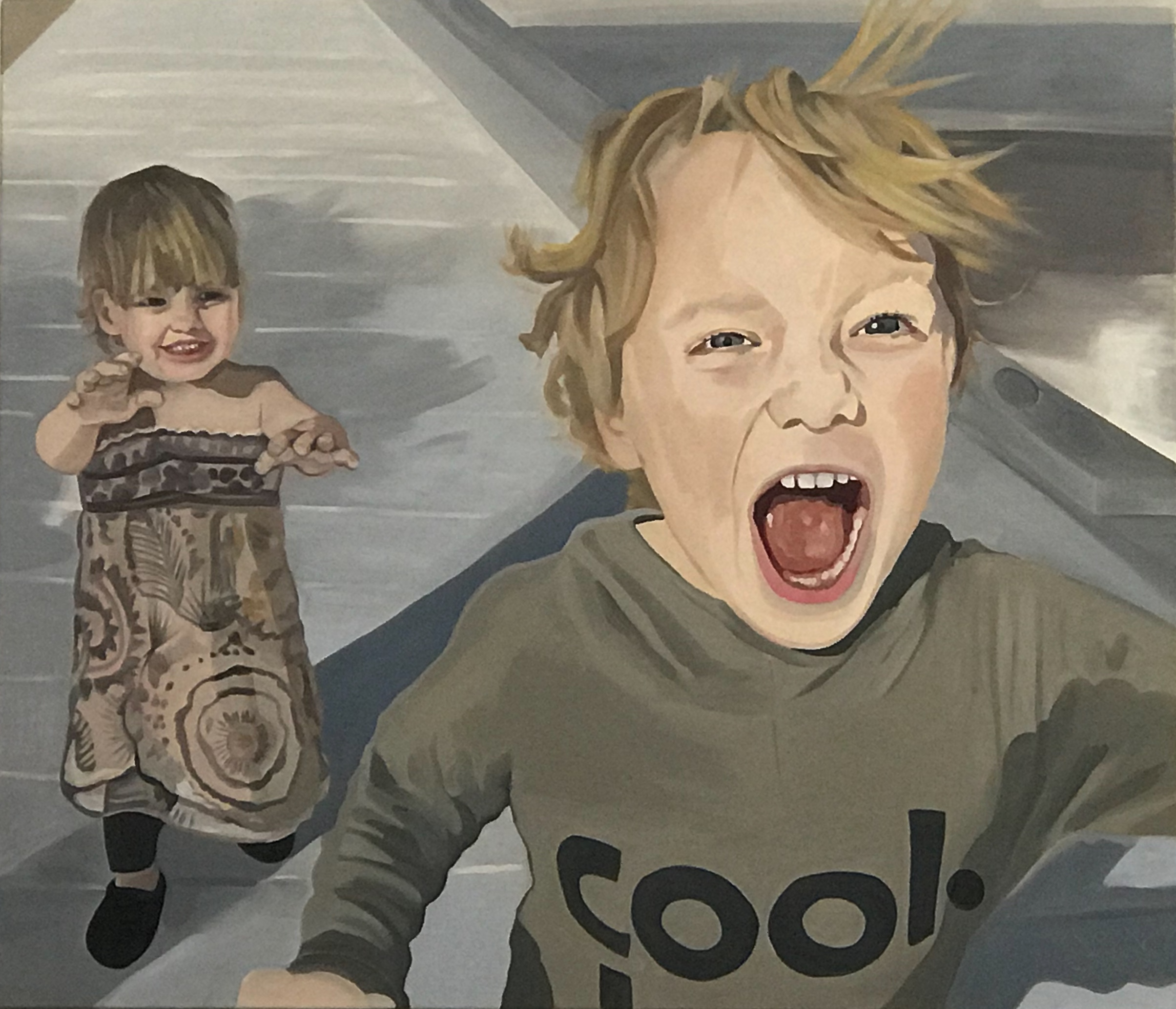 "Emmett and Rosemary, oil and wax on canvas, 36"" x 42"""