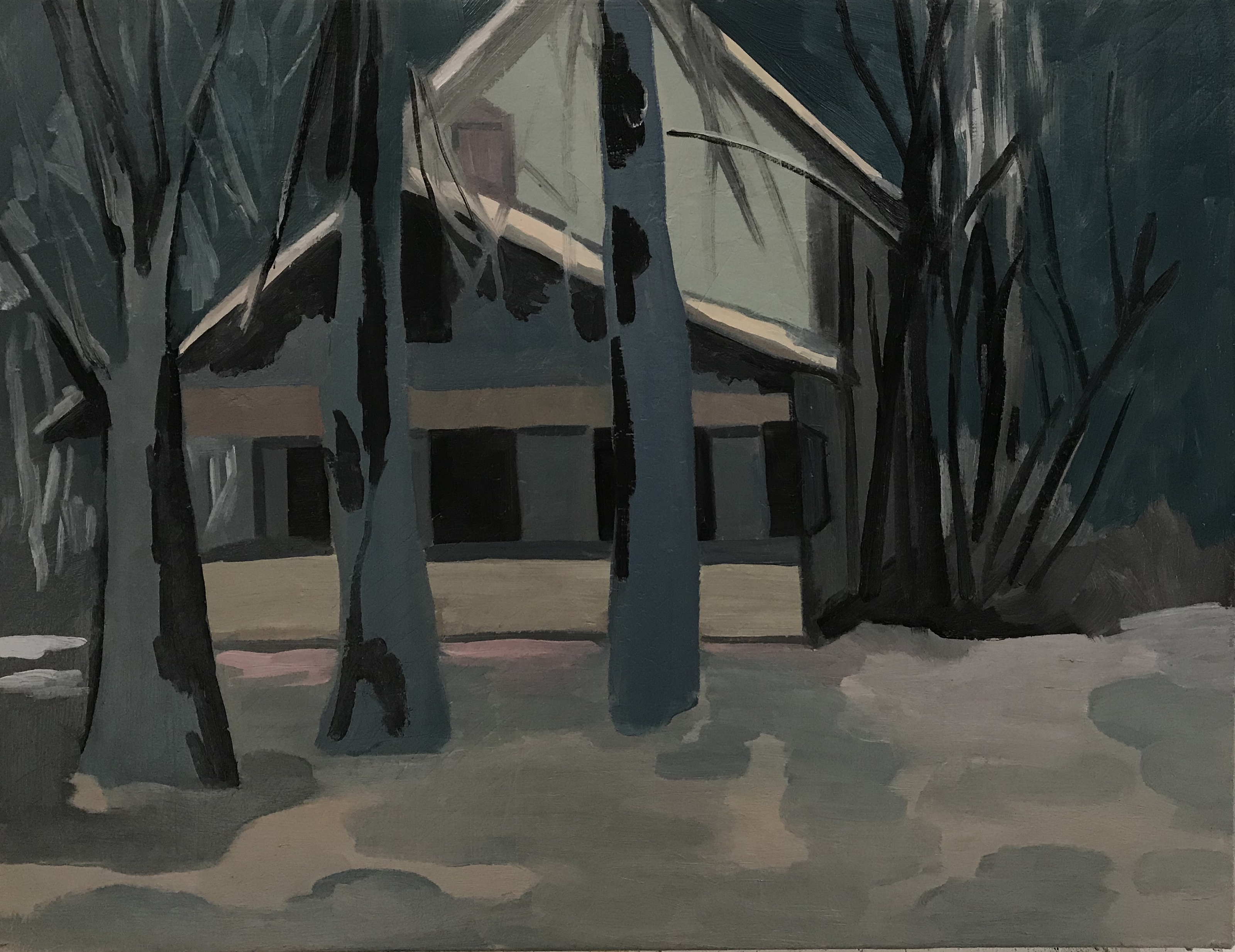 """Dark December Day, oil and wax on canvas, 22"""" x 28"""""""