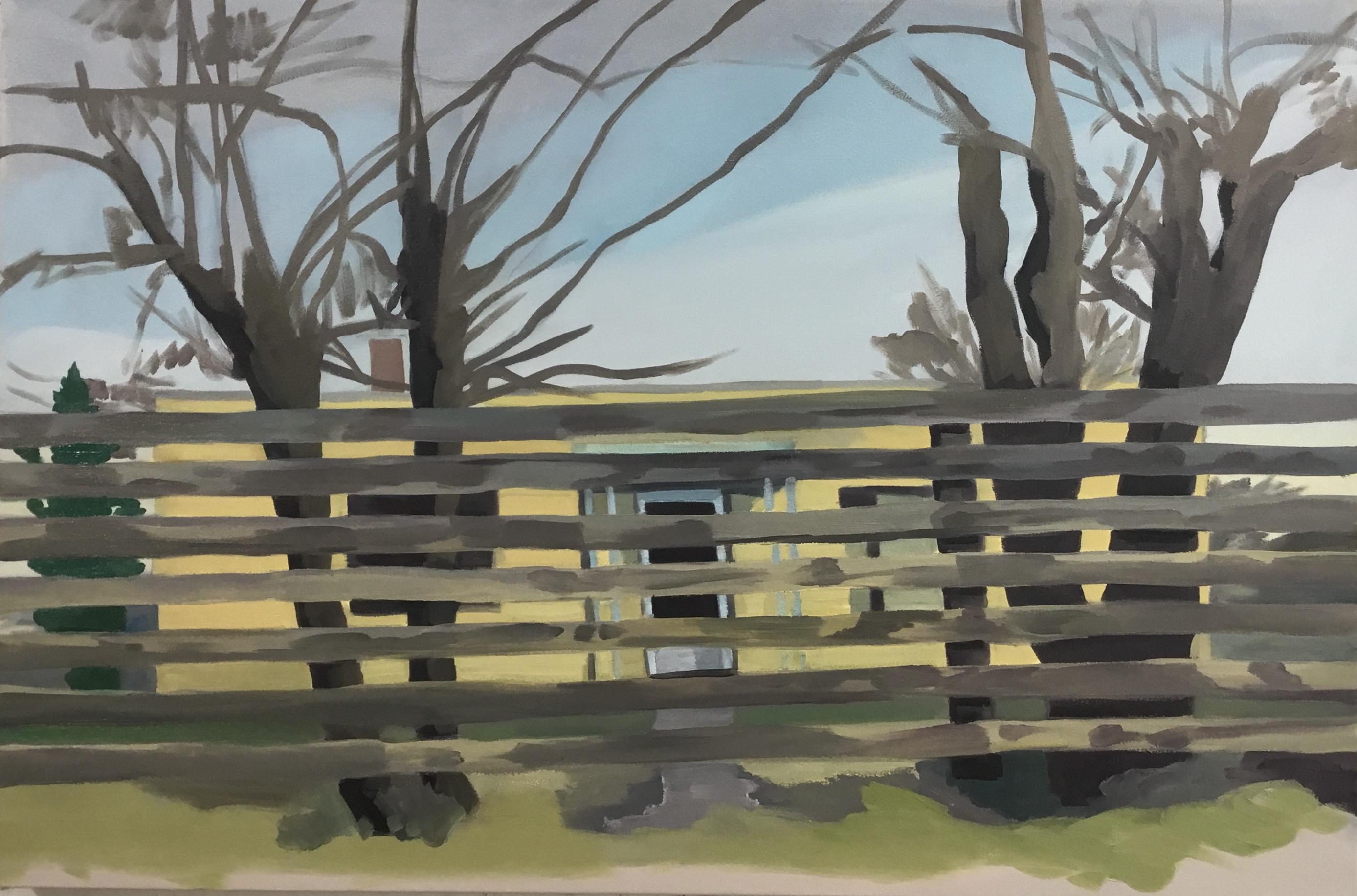 "Through the Fence, oil, 28"" x 42"""