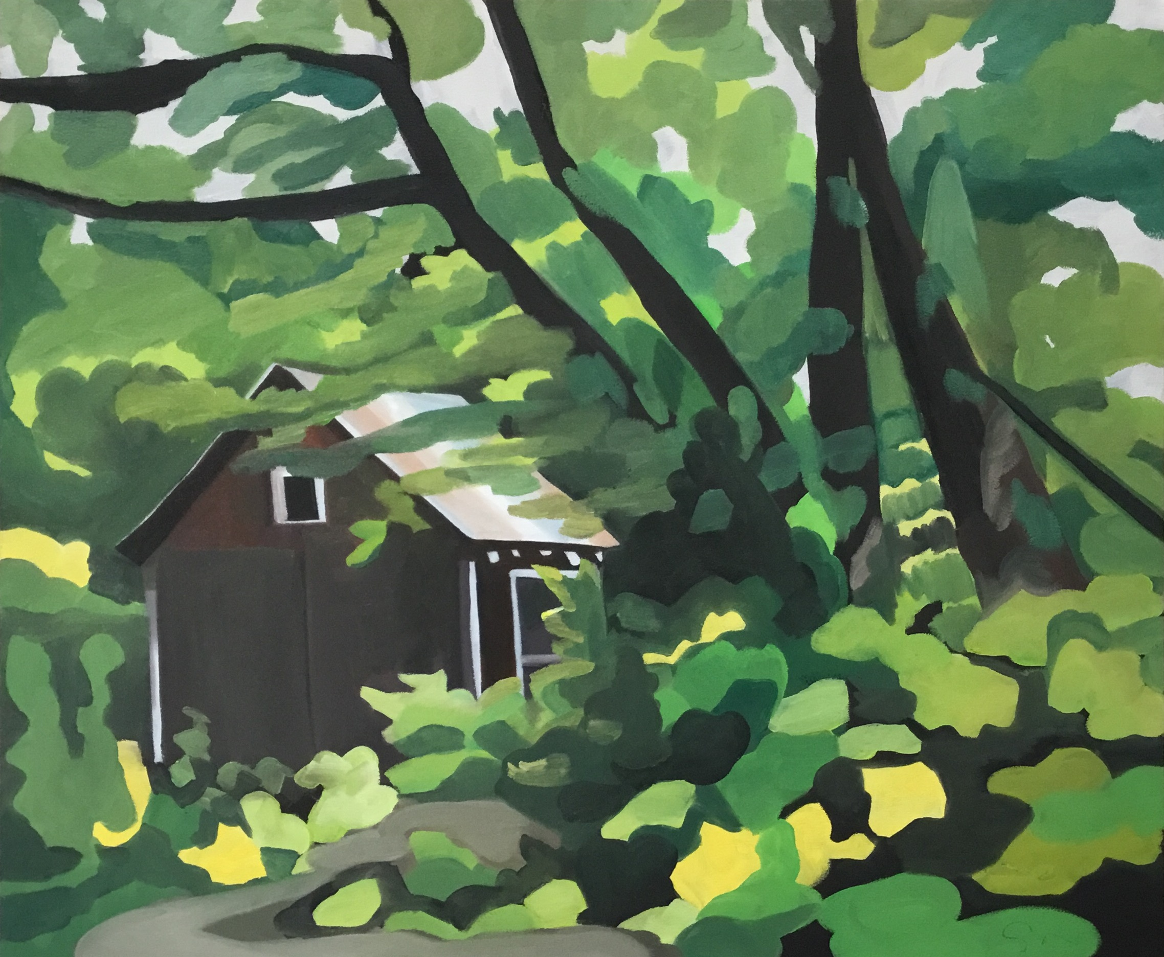 "Hideaway (Chalk Hill), oil on canvas, 30"" x 36"""