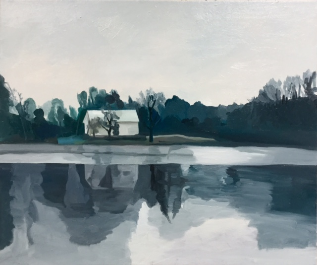 "Place by the Lake, 30"" x 38"", oil and wax on canvas"