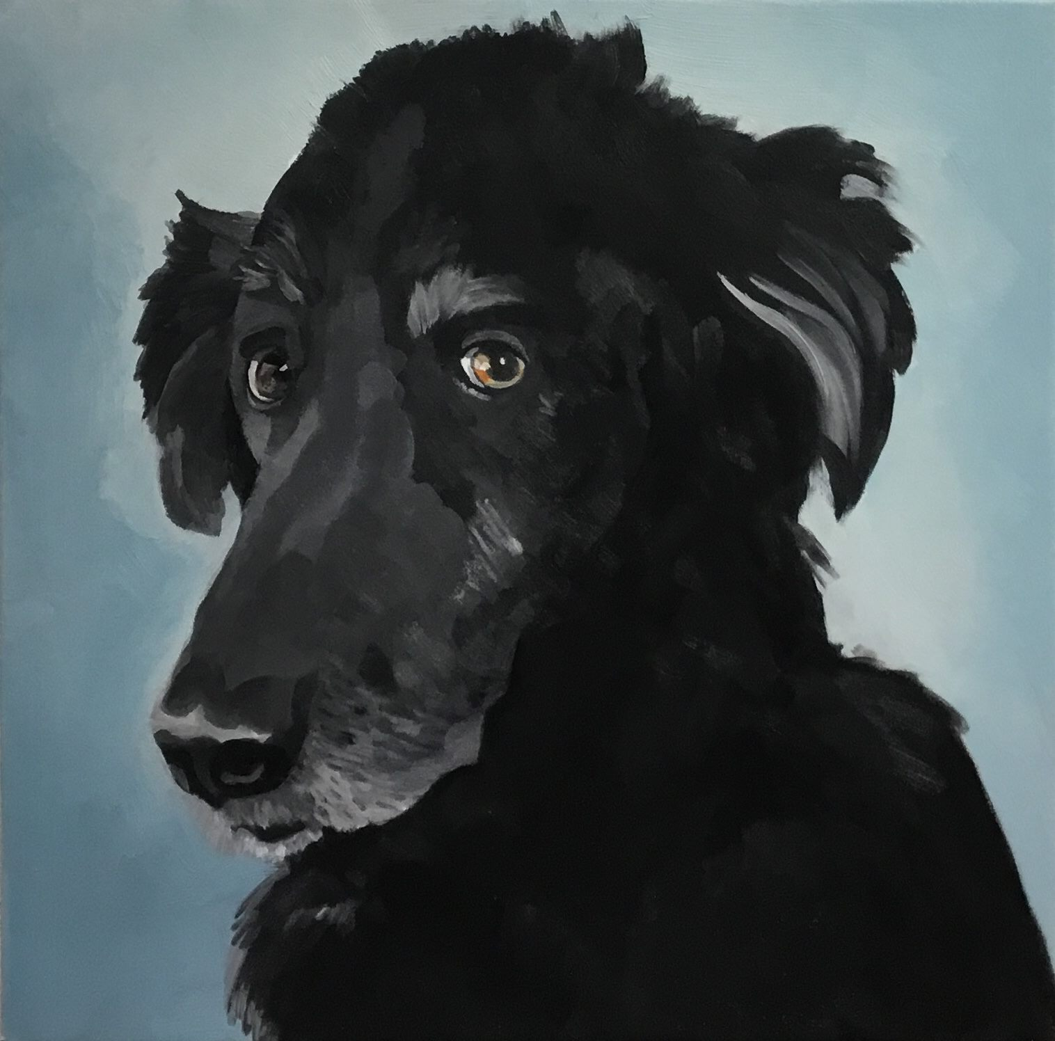 """Hairy! oil, on canvas, 20"""" x 20""""; SOLD"""