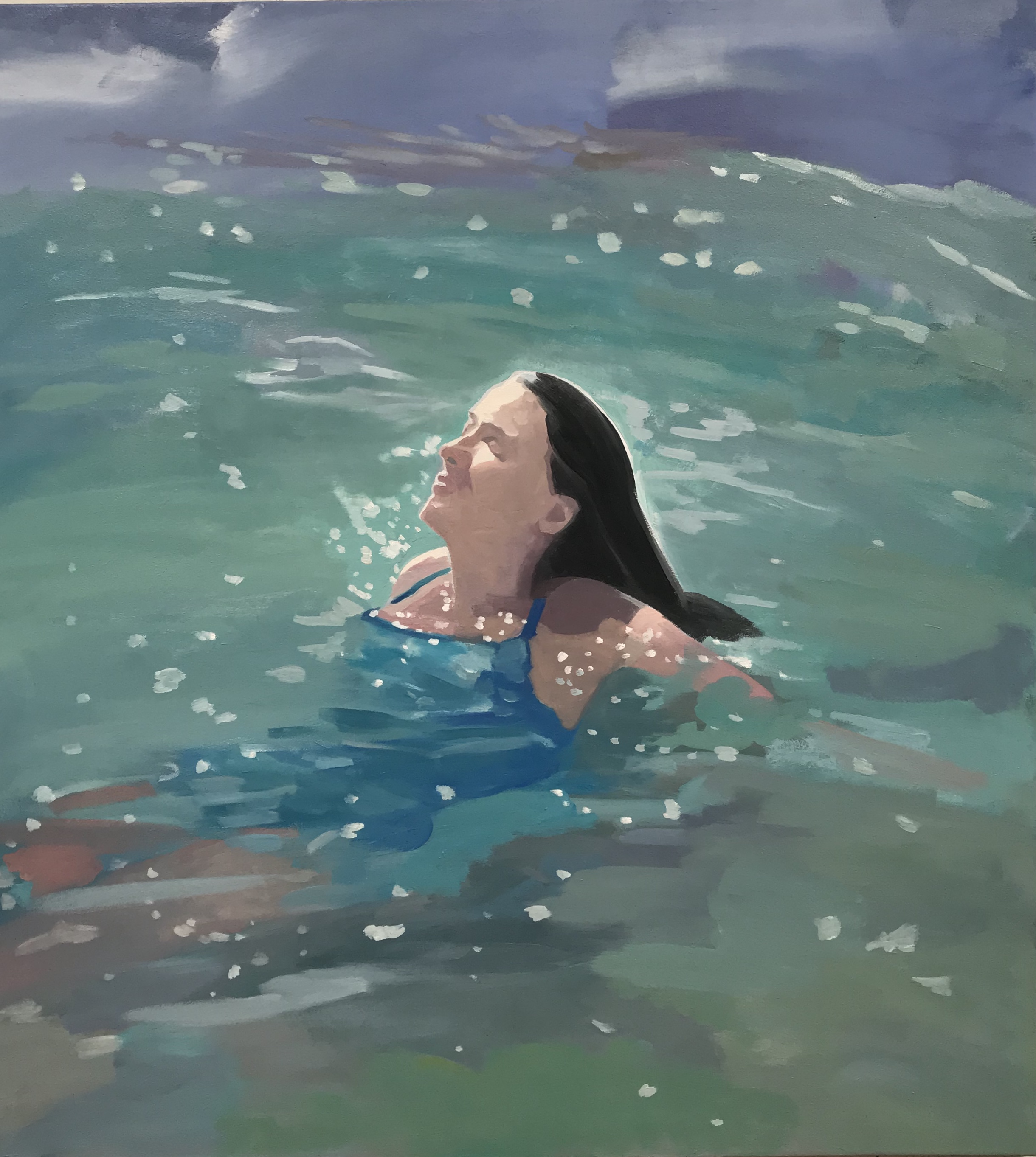 "Nirvana, oil and wax on canvas, 44"" x 40"""