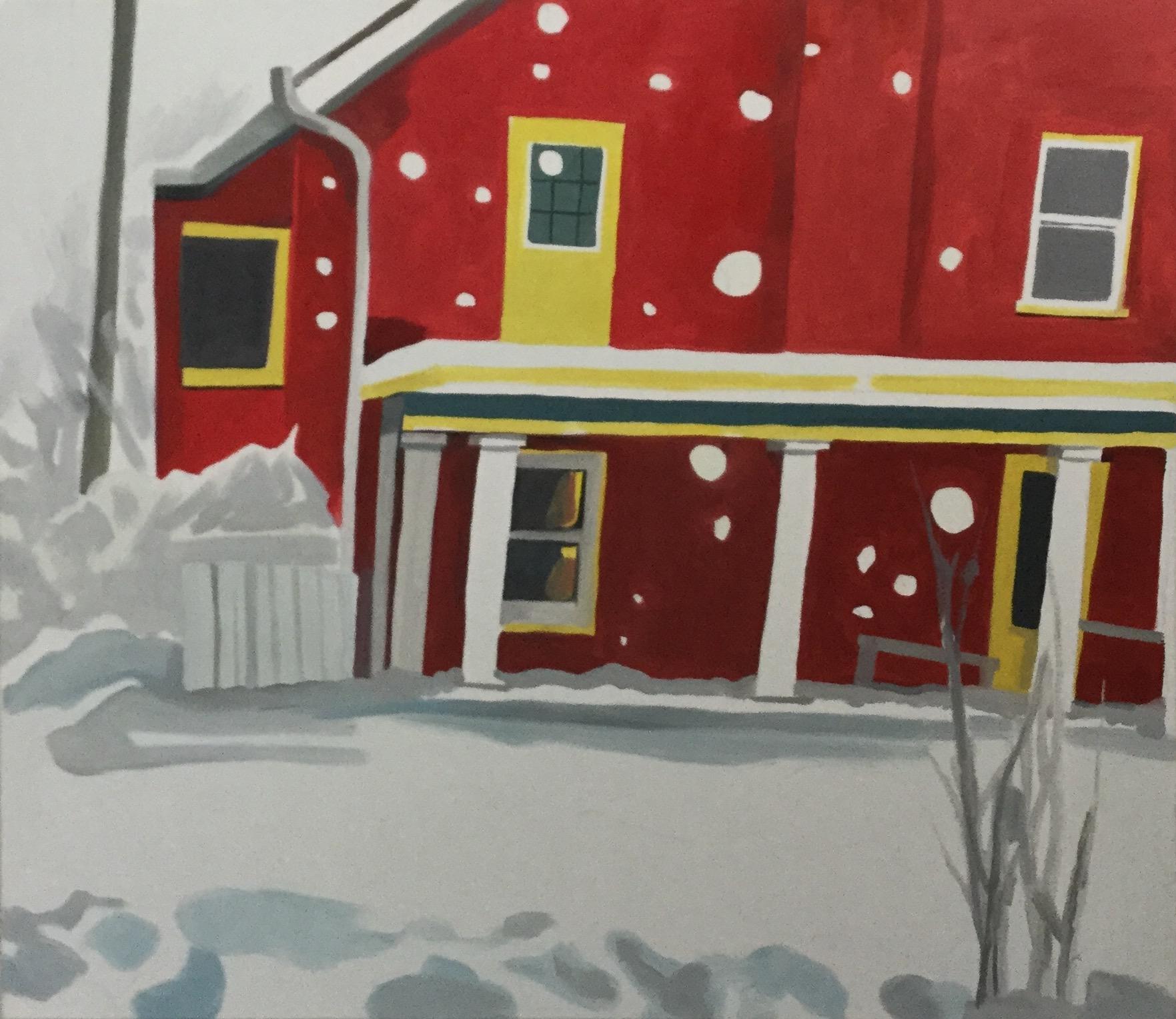 "Indiana Snow, oil,  28"" x 32"""