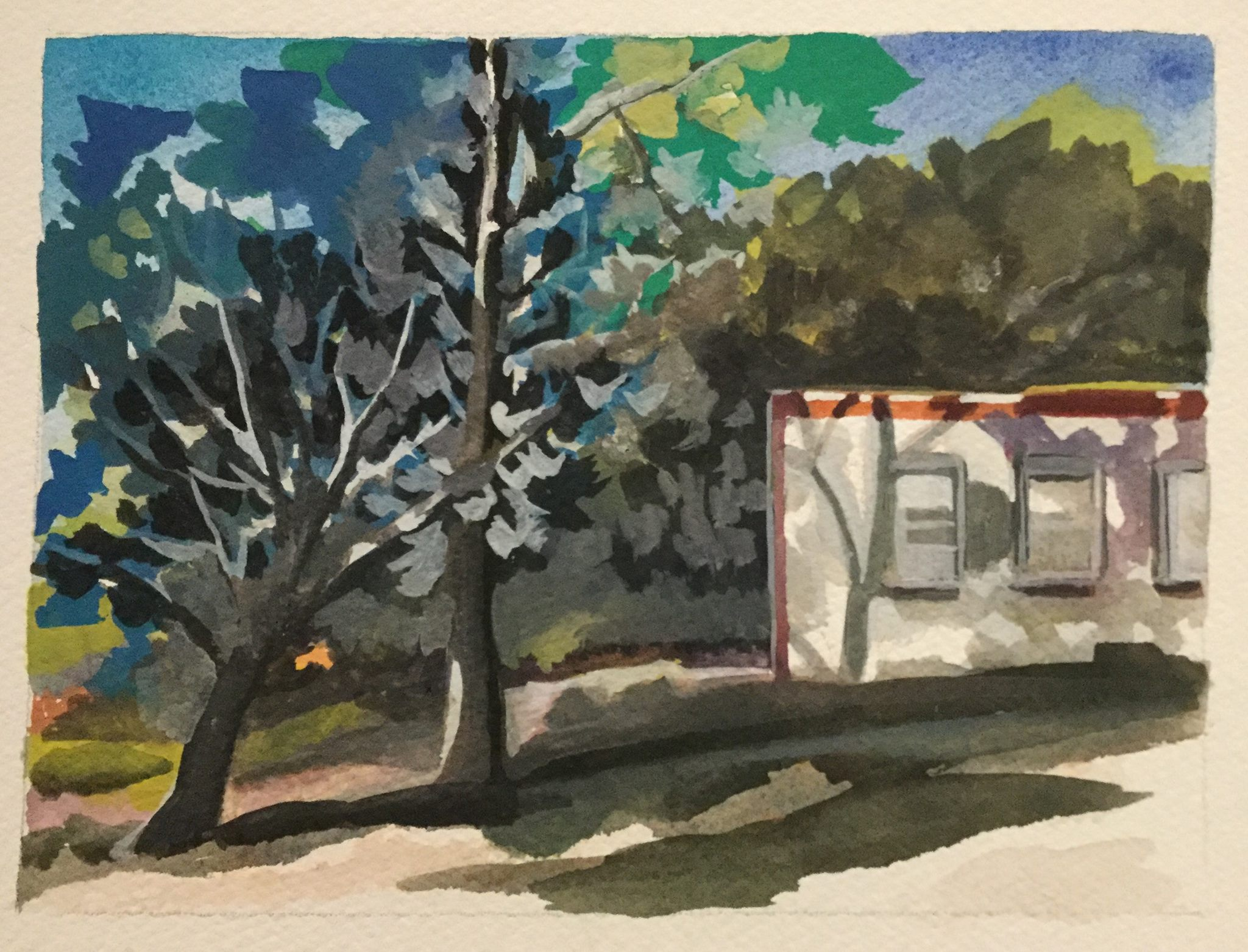 "Shadows on White Adobe, watercolor, 6"" x 8"""