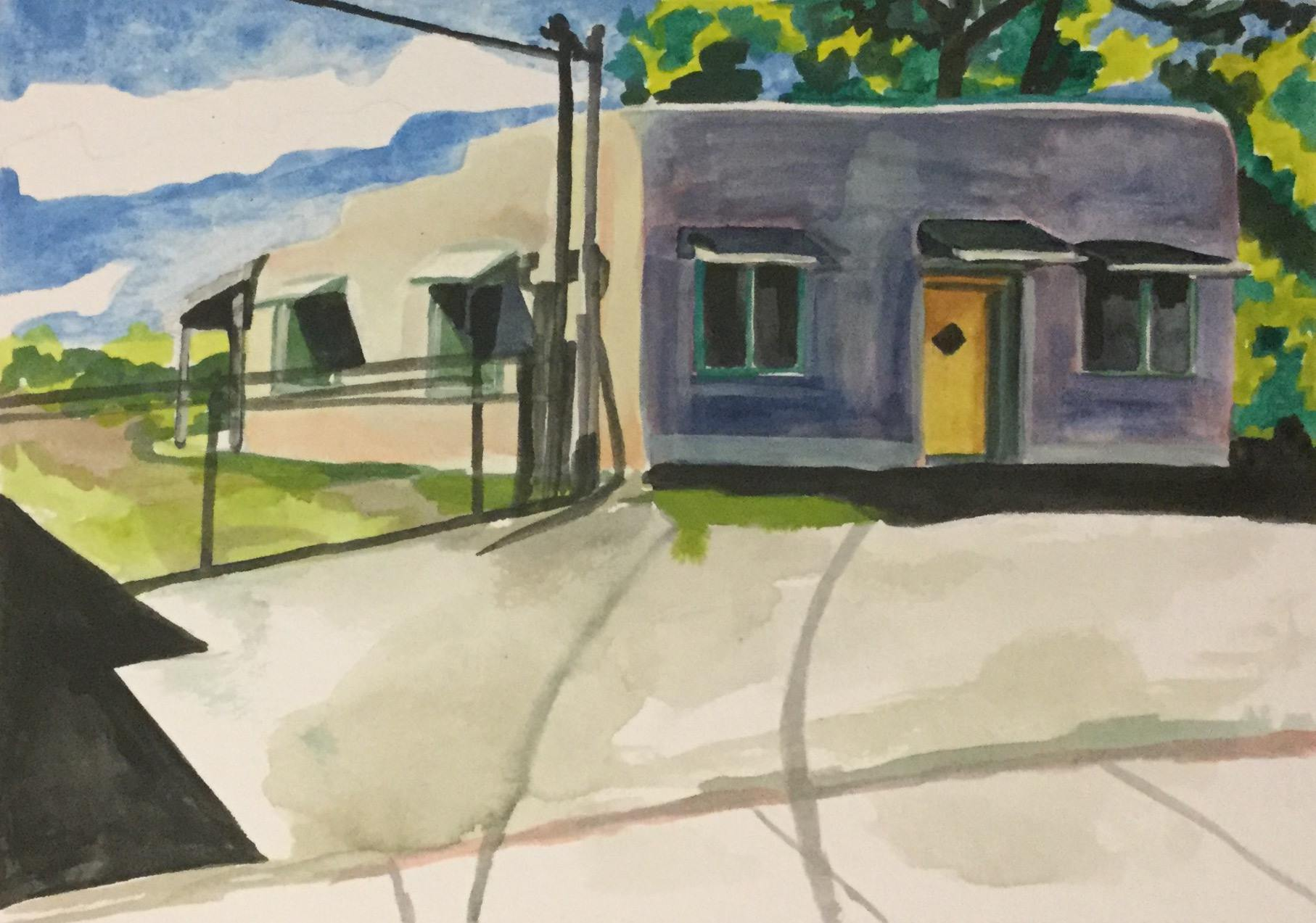 "Near Town, watercolor, 7"" x 10"""