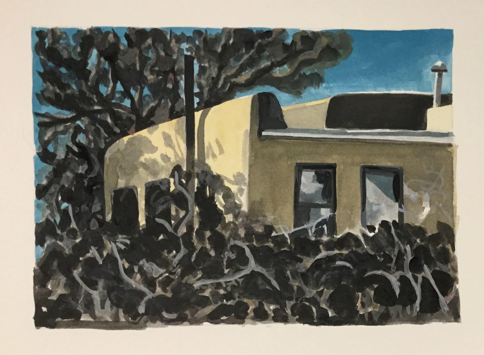 """Overgrown, watercolor, 5"""" x 7"""""""