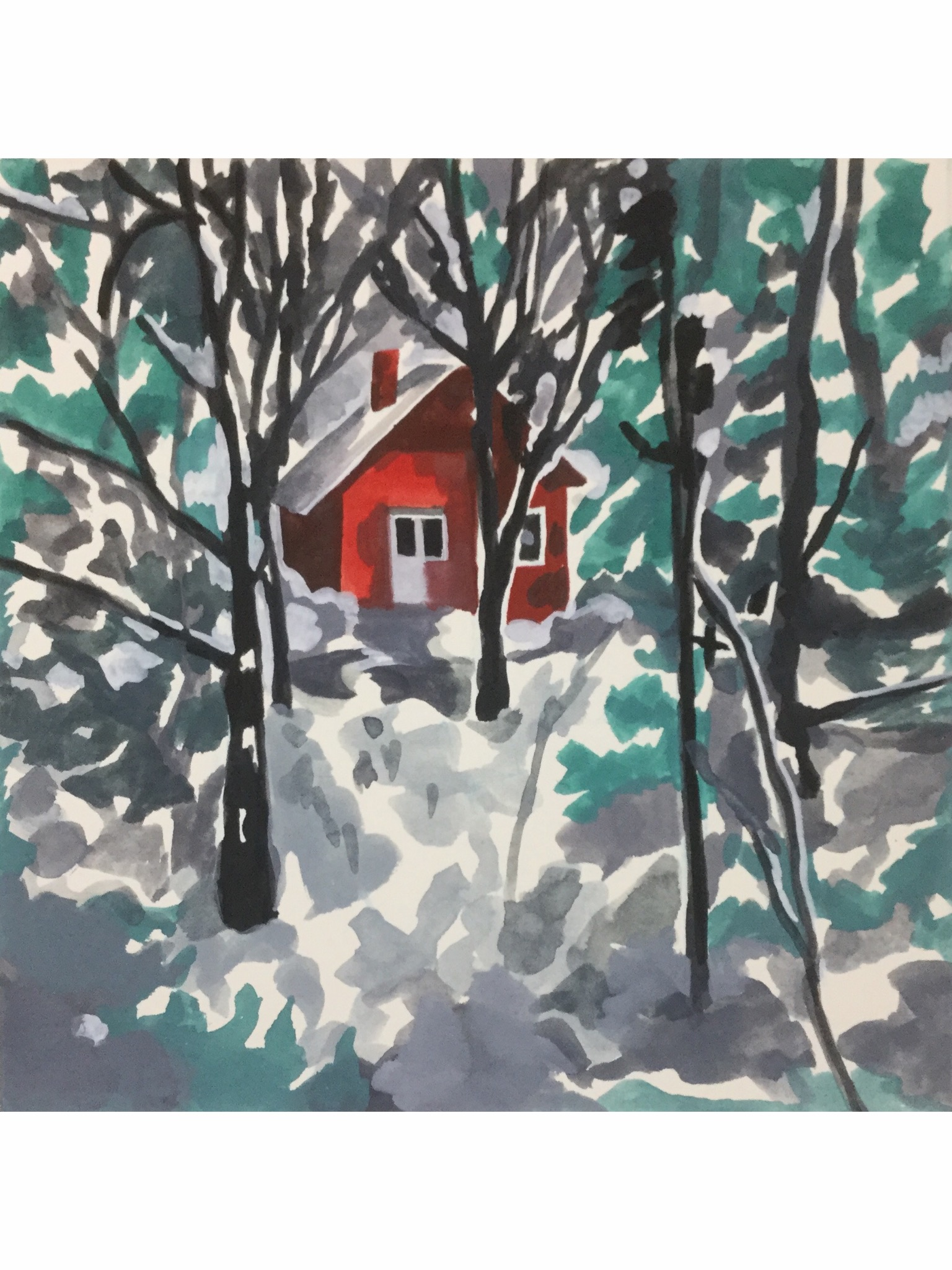"Cabin in the Snow, watercolor, 8"" x 8""; SOLD"