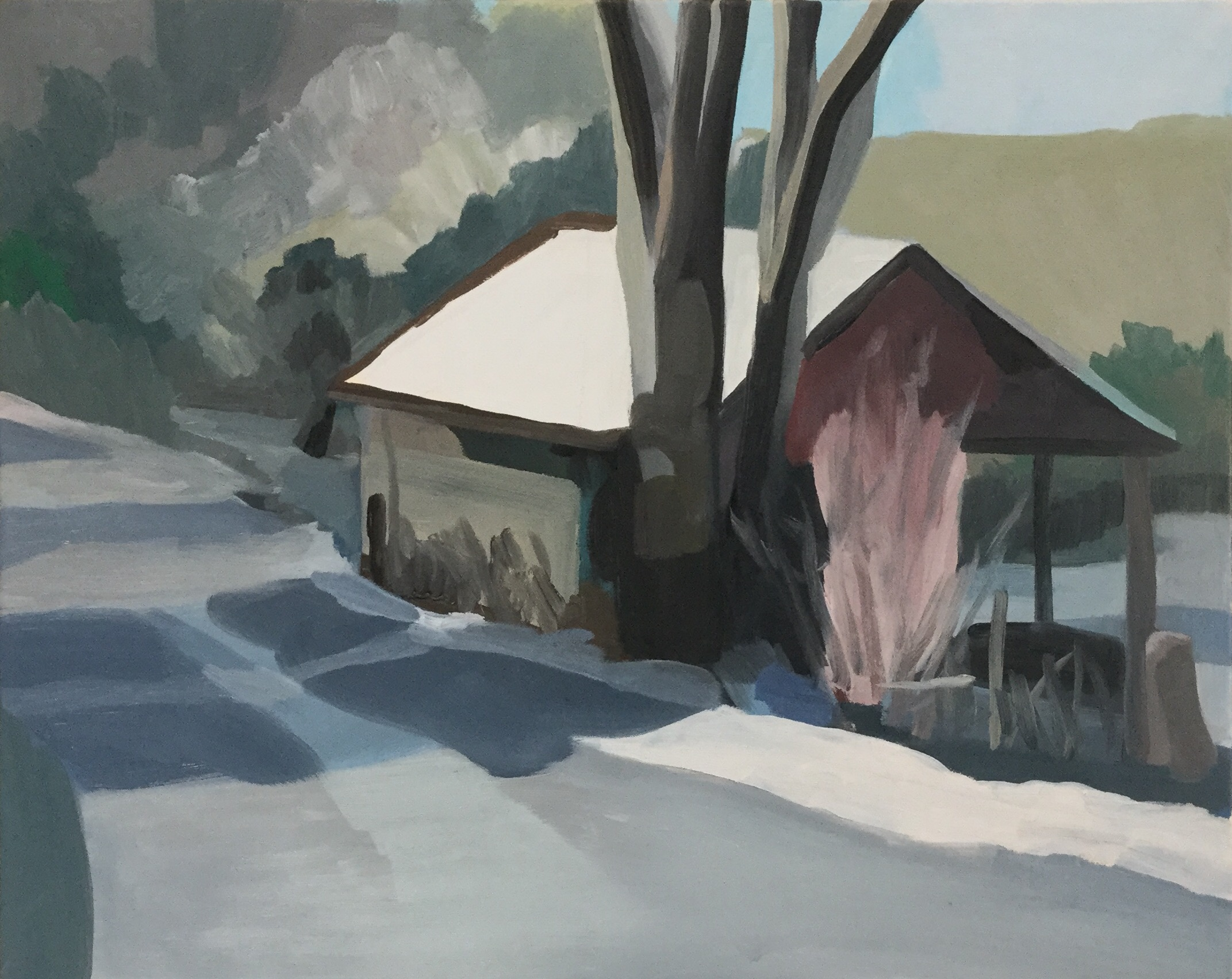 "Cowshed, oil on canvas, 16"" x 20"""