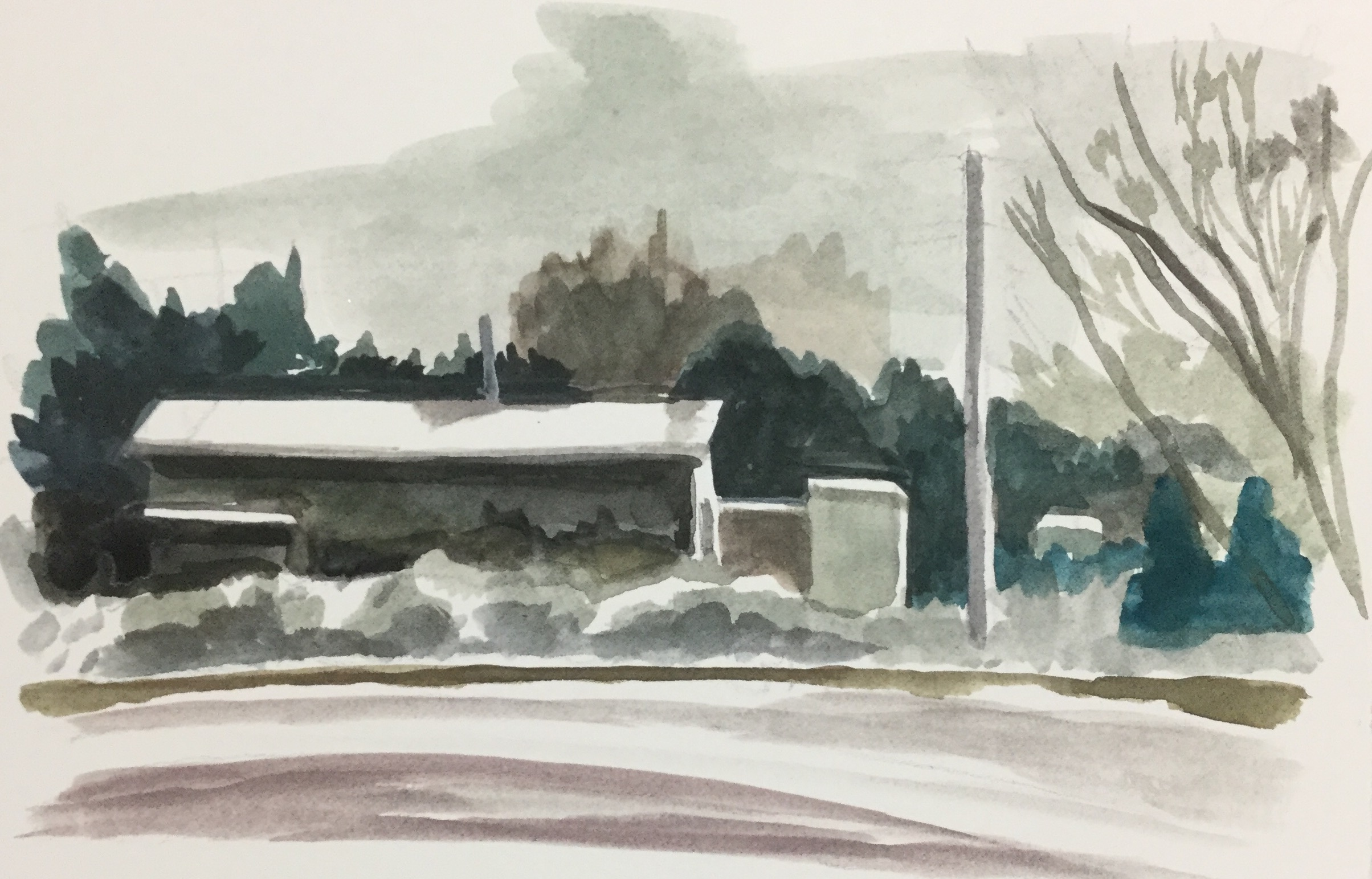 "Gray Day, watercolor, 5.8"" x 8.5"""