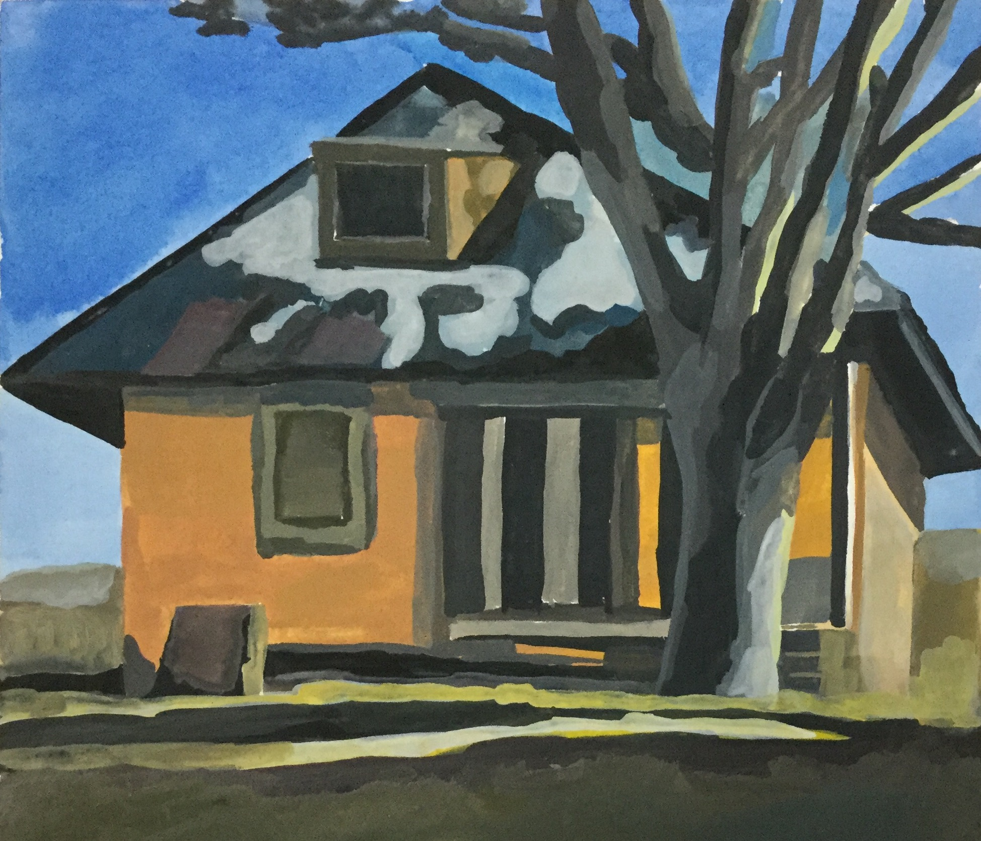 """House with Melting Snow, watercolor, 7"""" x 7"""""""