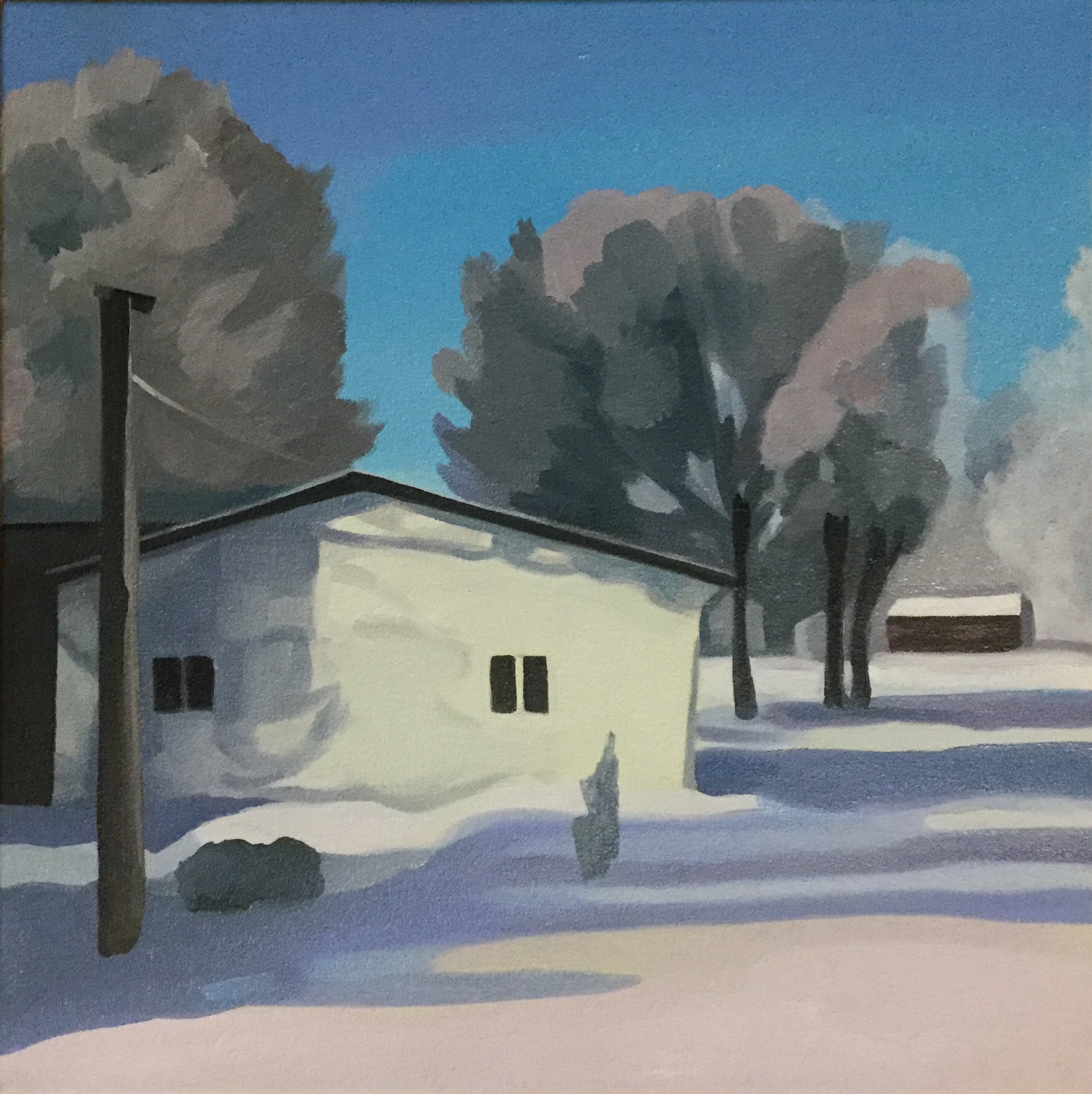 "Cold December Day, oil on canvas, 20"" x 20"""