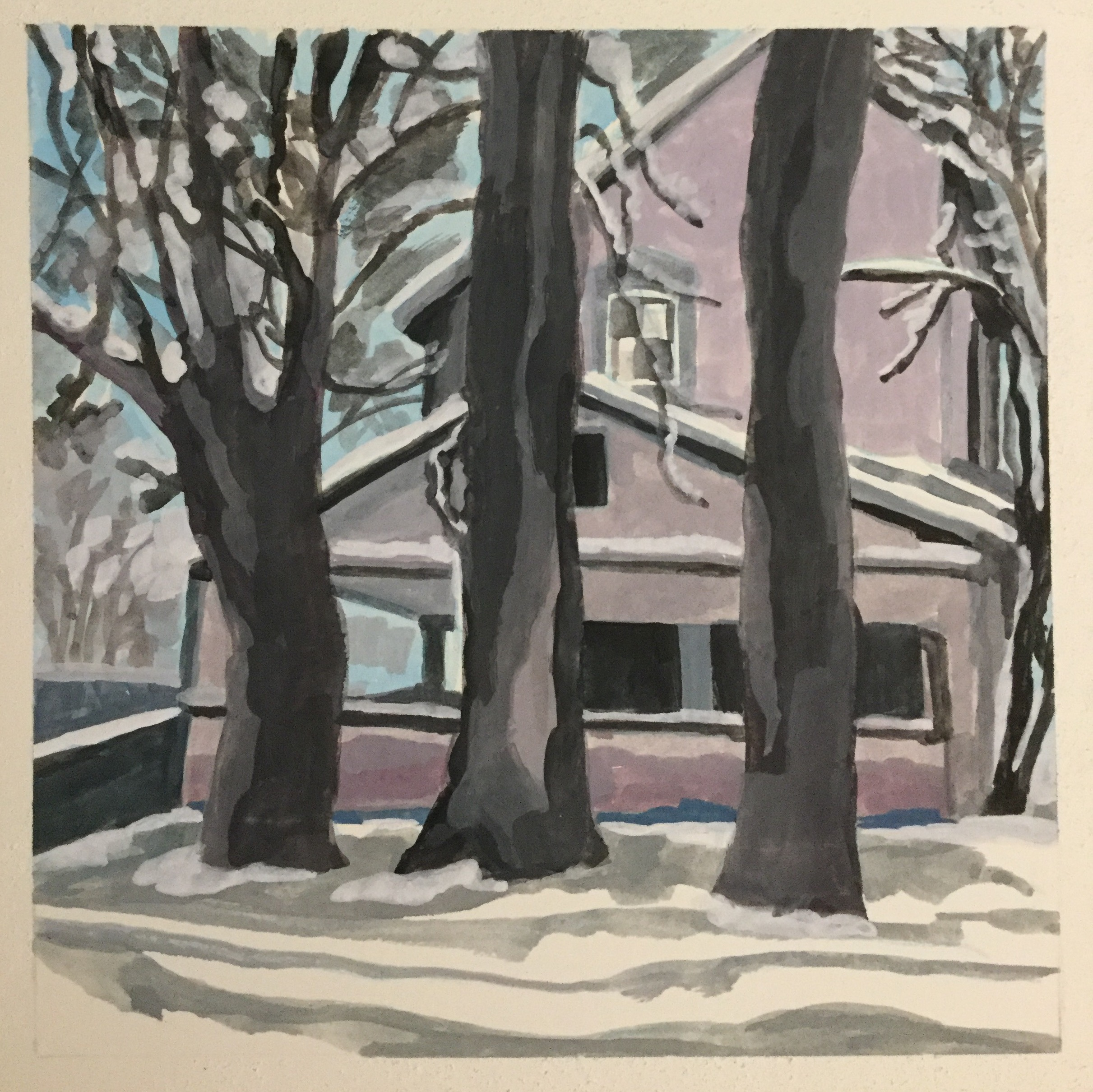 "Snowy Saturday, watercolor, 8"" x 8"""