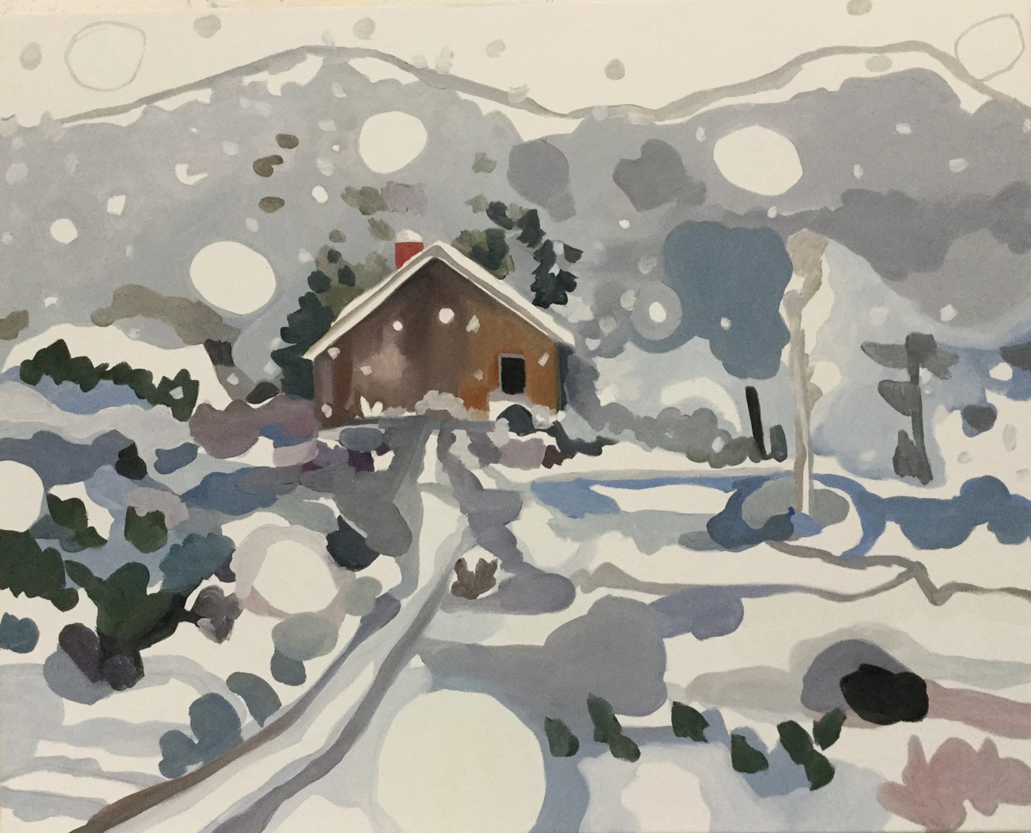 """Playing in the Snow, oil, 24"""" x 30"""""""