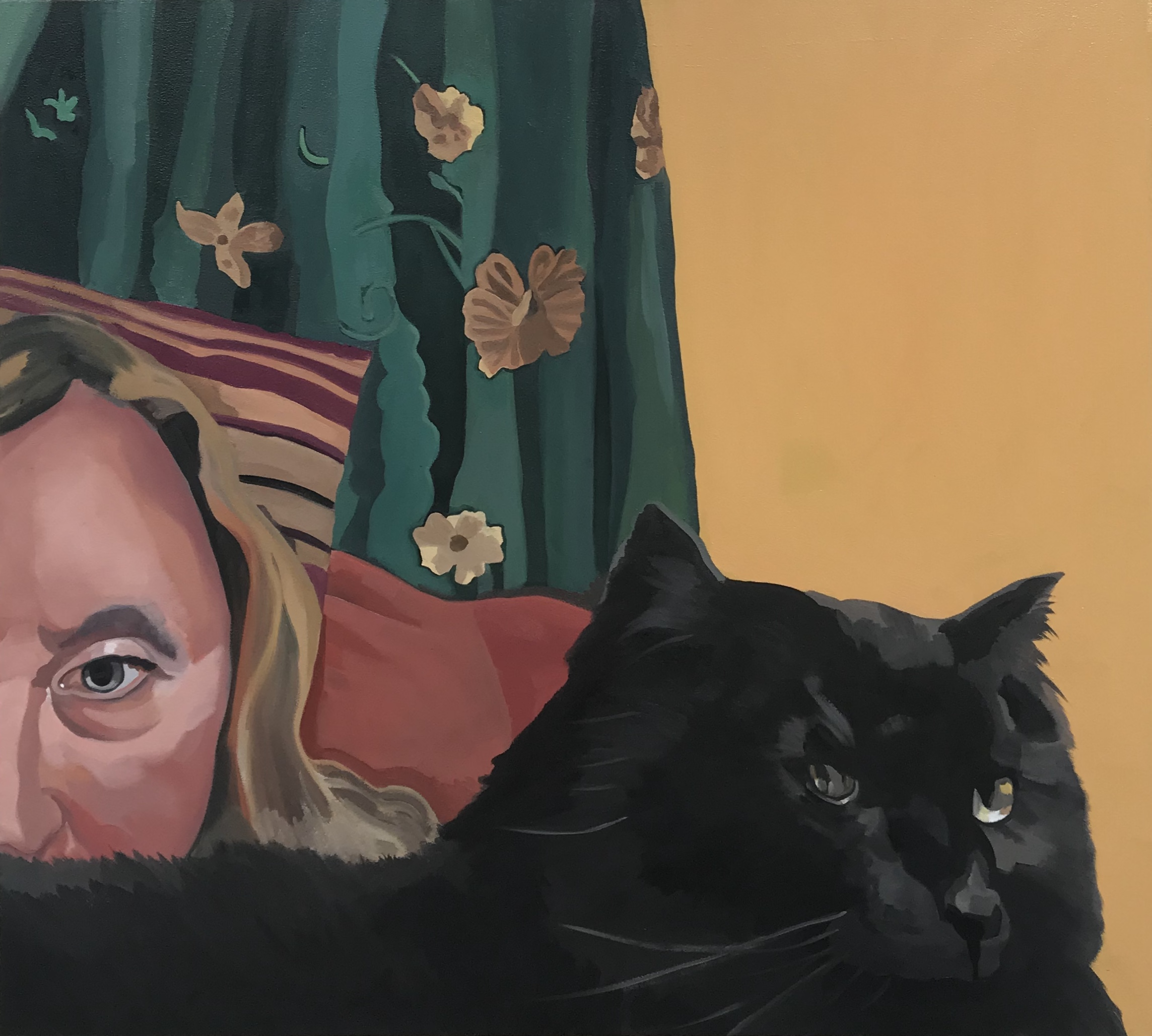 "Portrait with a Disguise, oil and cold wax on canvas, 36"" x 40"""