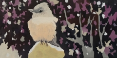 The magic of a bird and a plum tree in the snow (SOLD)