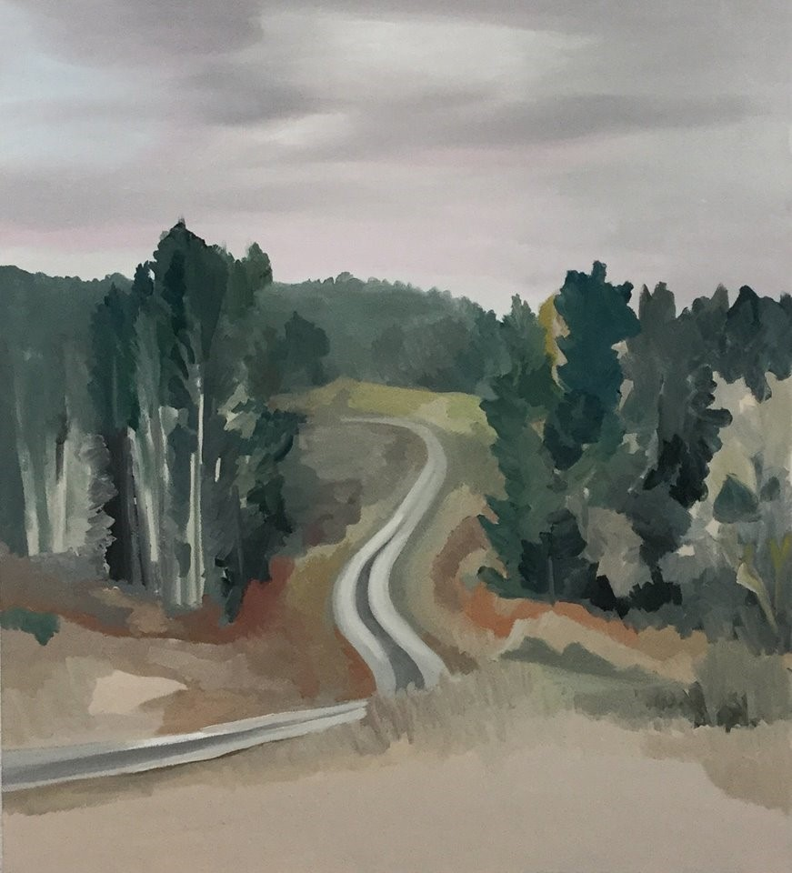 "Down the Road, oil on canvas, 30"" x 36"""