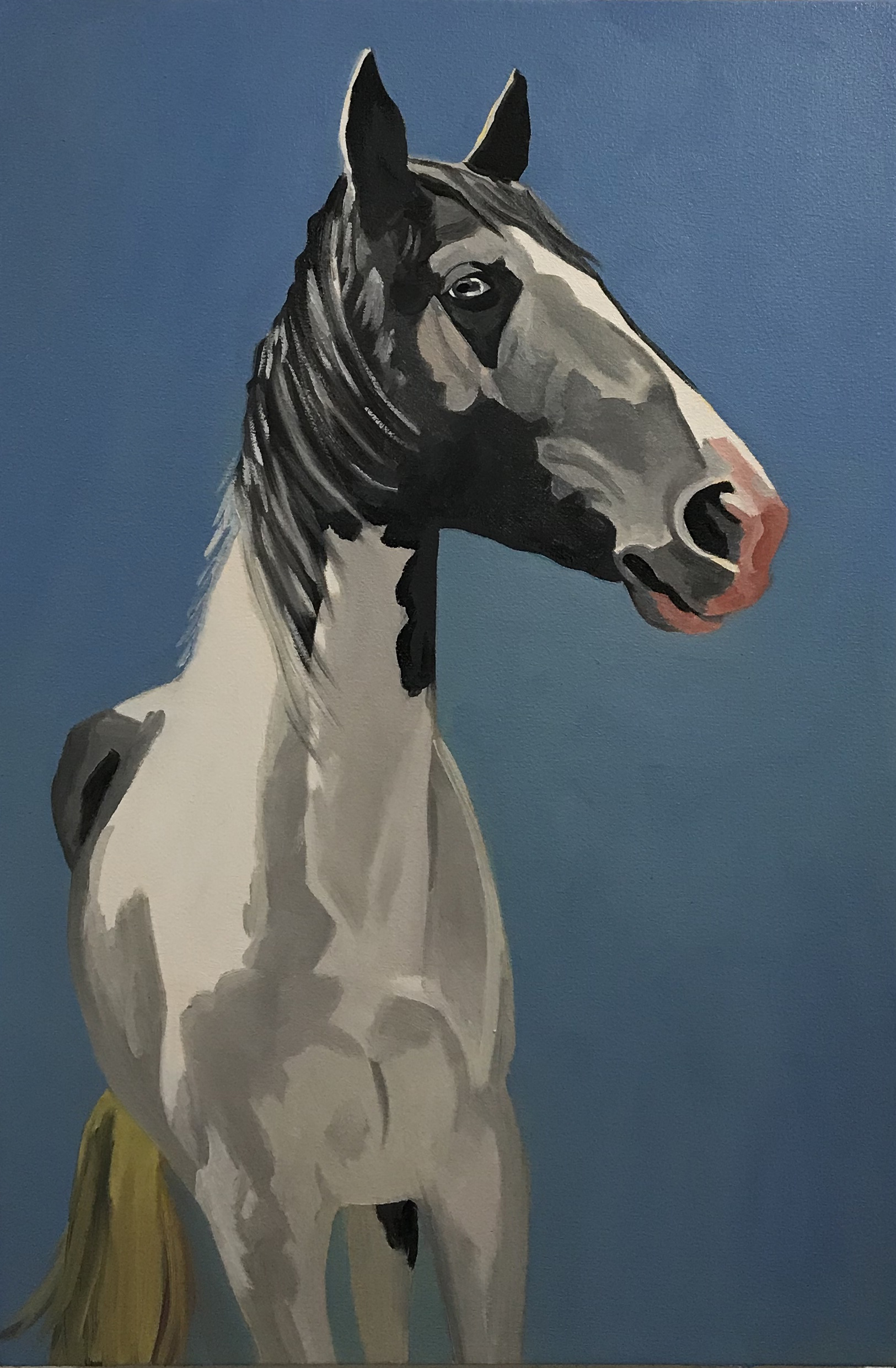 "A Horse of Many Colors, oil and wax on canvas, 30"" x 20"""