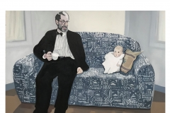 "Father and Daughter Conversation (Rob and Ella), oil and wax on canvas, 26"" x 42"""