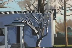 """Tree Growing in the House, oil on canvas, 30"""" x 28"""""""