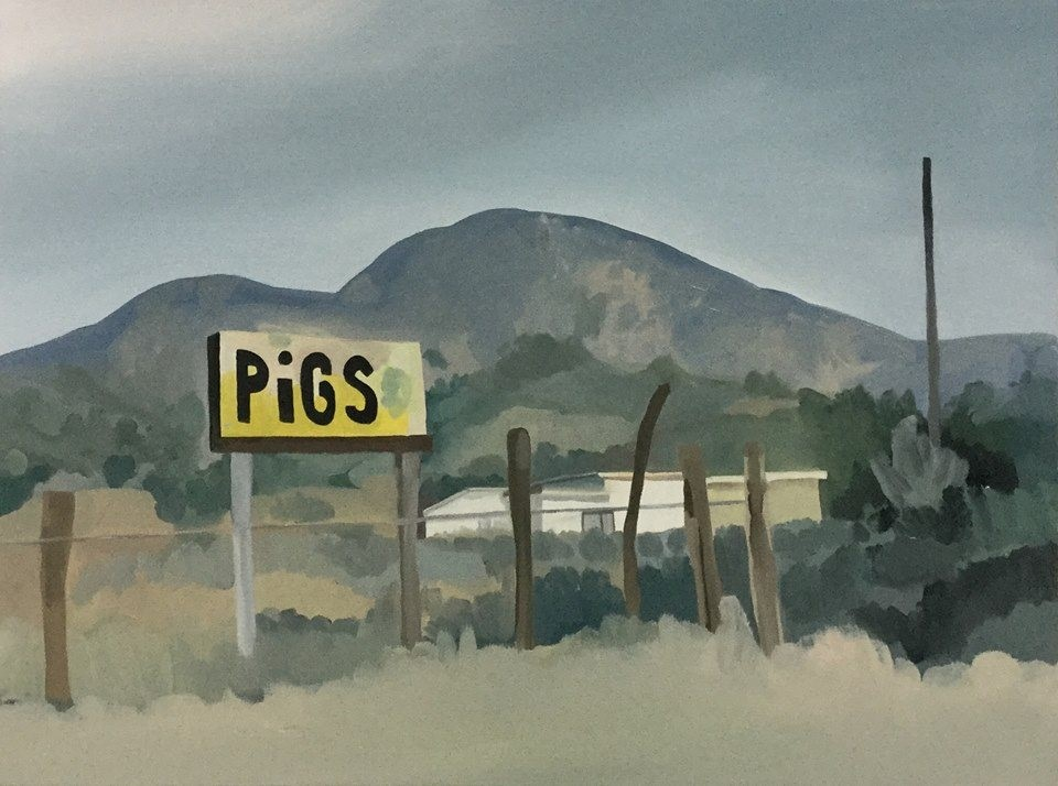 "Turn Left at the Sign, oil, 30"" x 40"""