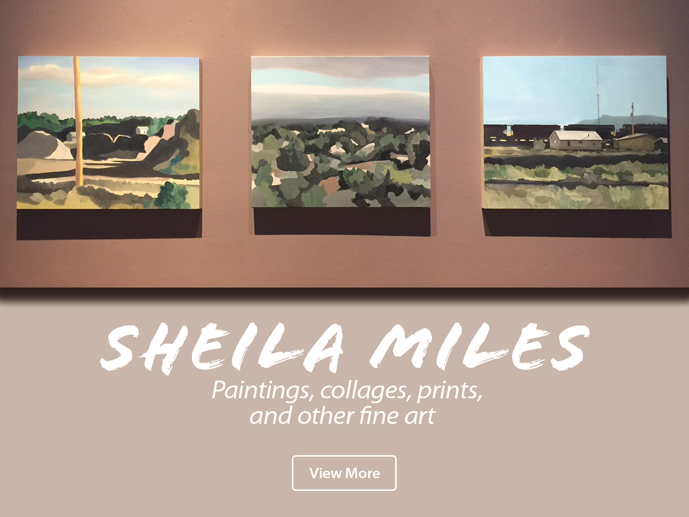 Image featuring three fine art paintings by Sheila Miles of Sante Fe
