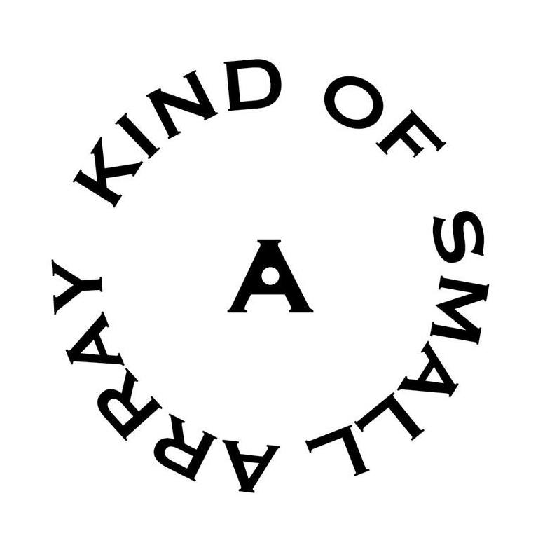 """Logo for a kind of small array: an A surrounded by a circle of the words """"kind of small array."""" Recent works by Artist Sheila Miles are on display here."""